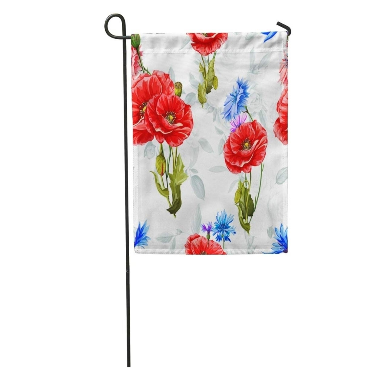 Watercolor Poppy Cornflowers And Roses On Pattern Of Flowers Blue Garden Flag Decorative Flag House Banner 28X40 Inch Inside Wilde Poppies Ceramic Garden Stools (View 21 of 25)