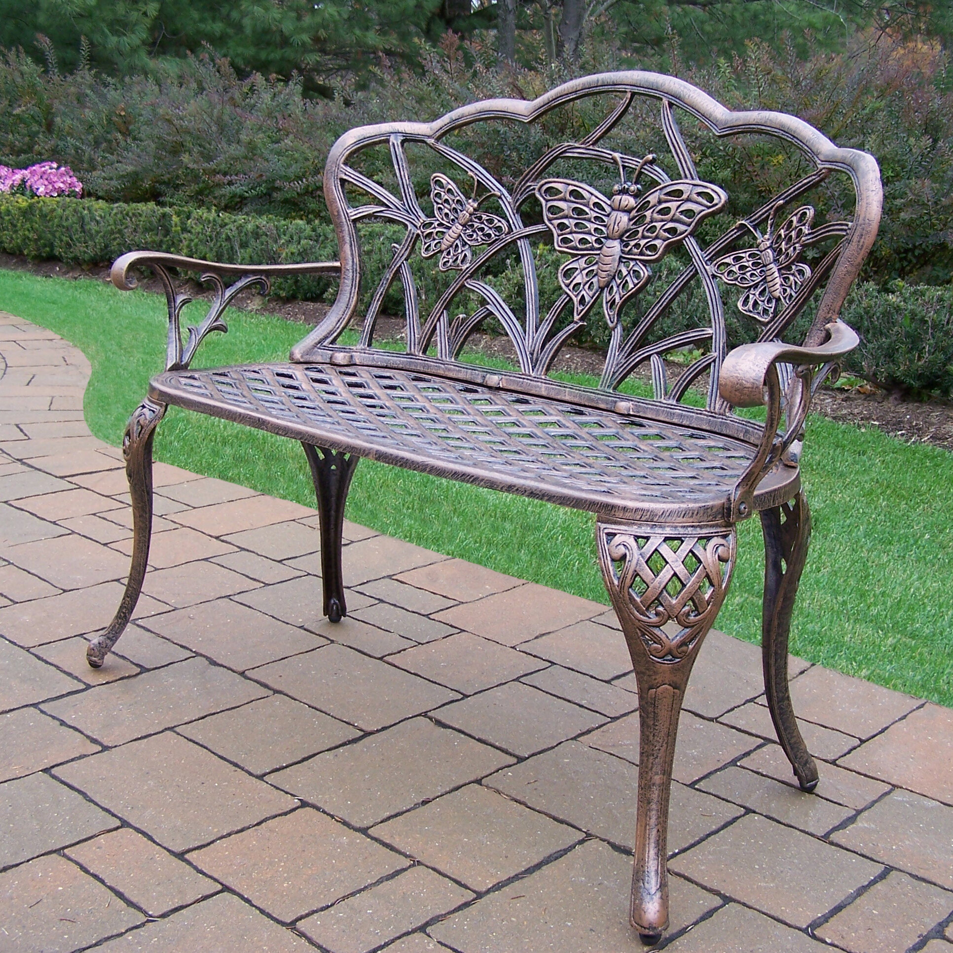 Wensley Aluminum Garden Bench Pertaining To Caryn Colored Butterflies Metal Garden Benches (View 22 of 25)
