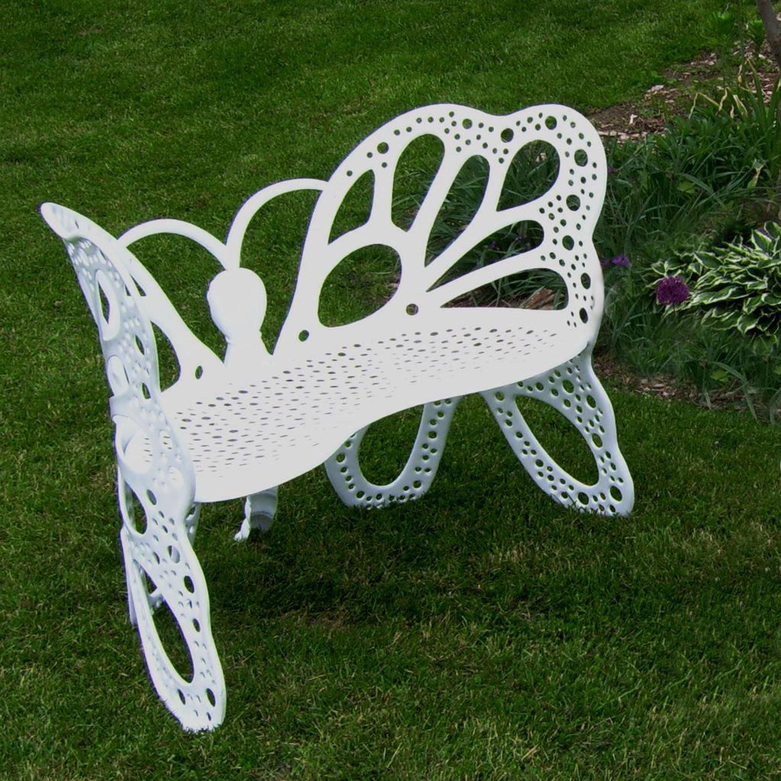 White Metal Butterfly Garden Bench With Caryn Colored Butterflies Metal Garden Benches (View 23 of 25)