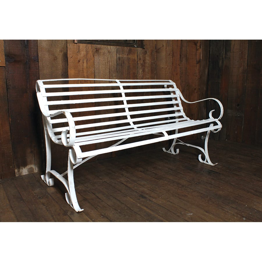 White Metal Park Bench With Slats In Flamingo Metal Garden Benches (View 23 of 25)