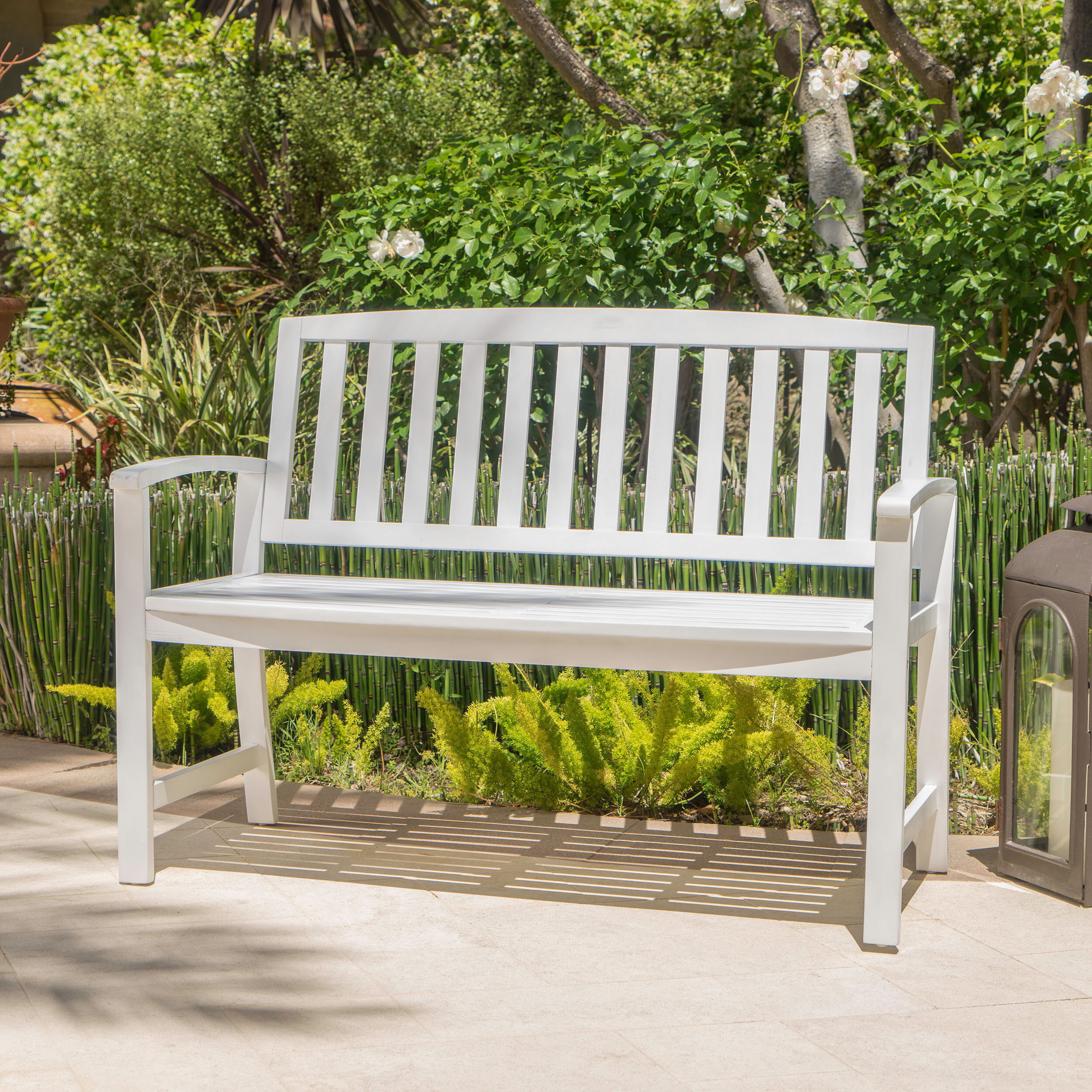 White Outdoor Benches You'Ll Love In 2020 | Wayfair Pertaining To Ahana Wooden Garden Benches (View 15 of 25)