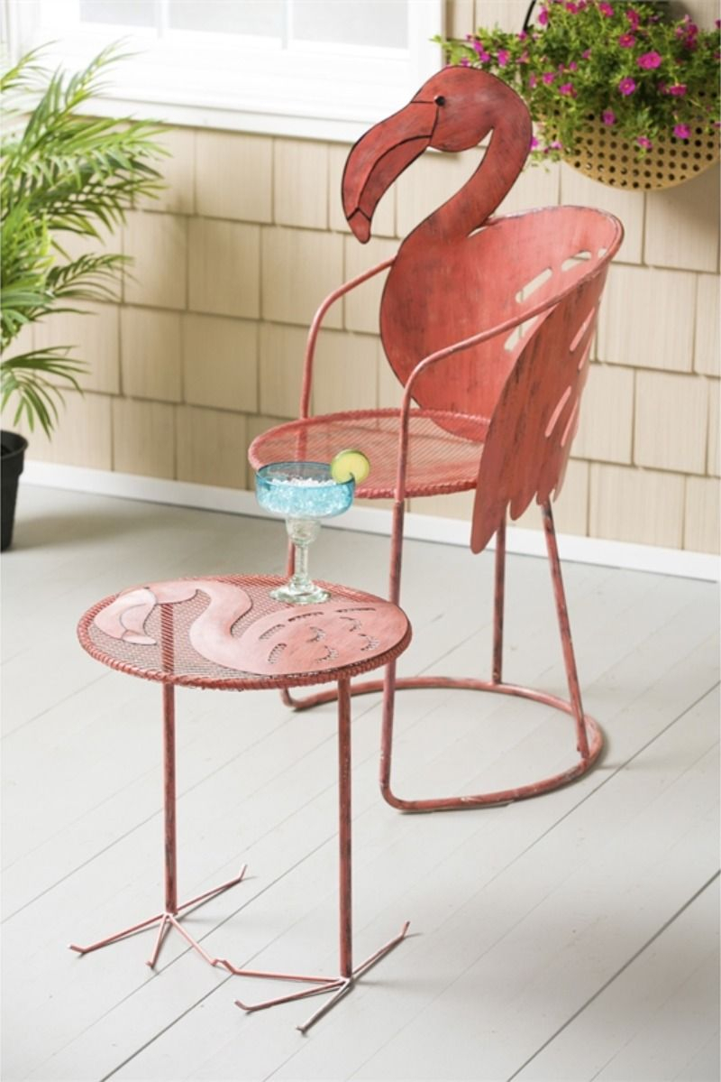 Wholesale Flamingo Chair And Side Table, Set Of 2 In 2020 Intended For Flamingo Metal Garden Benches (View 3 of 25)