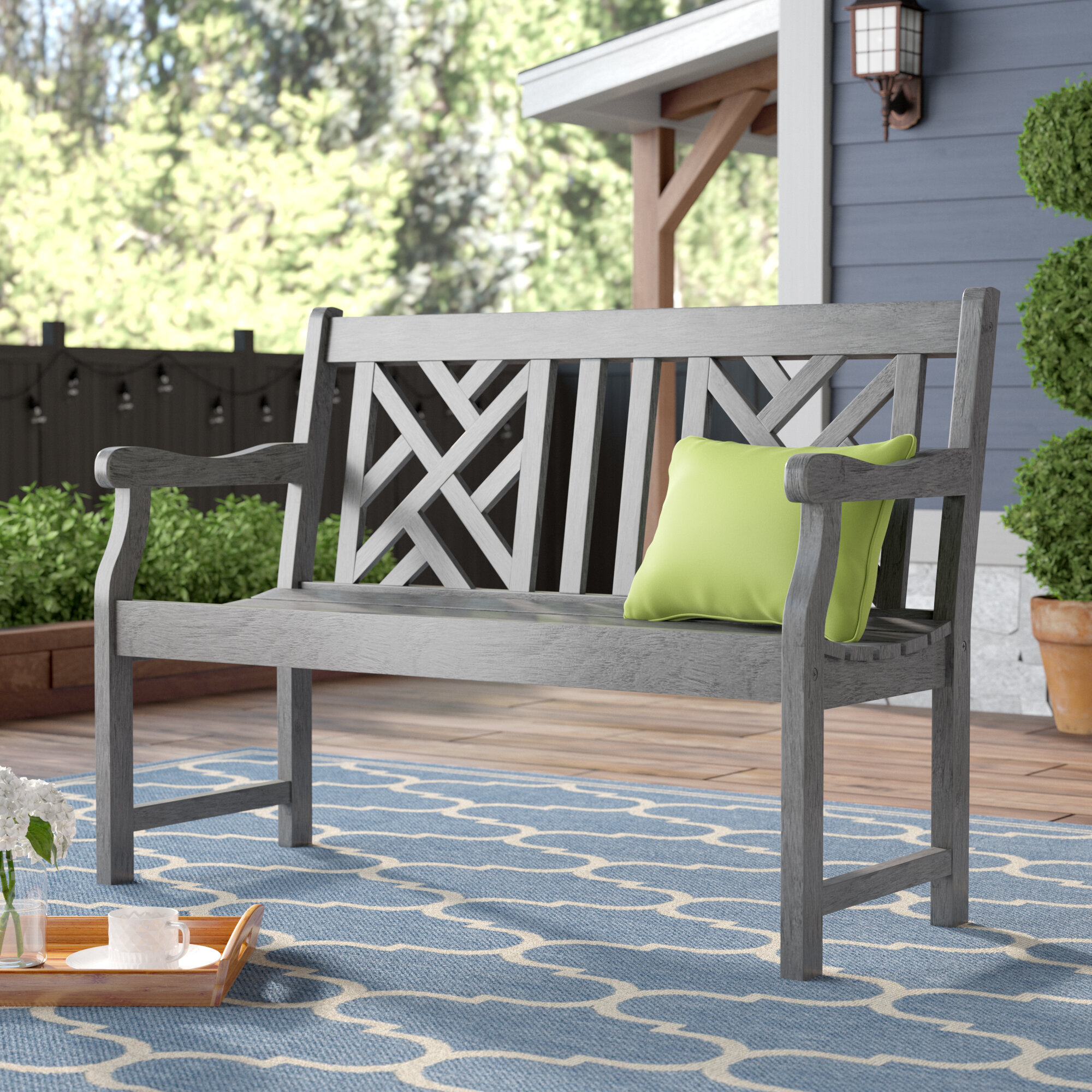 With Arms Outdoor Benches You'Ll Love In 2020 | Wayfair Pertaining To Krystal Ergonomic Metal Garden Benches (View 5 of 25)