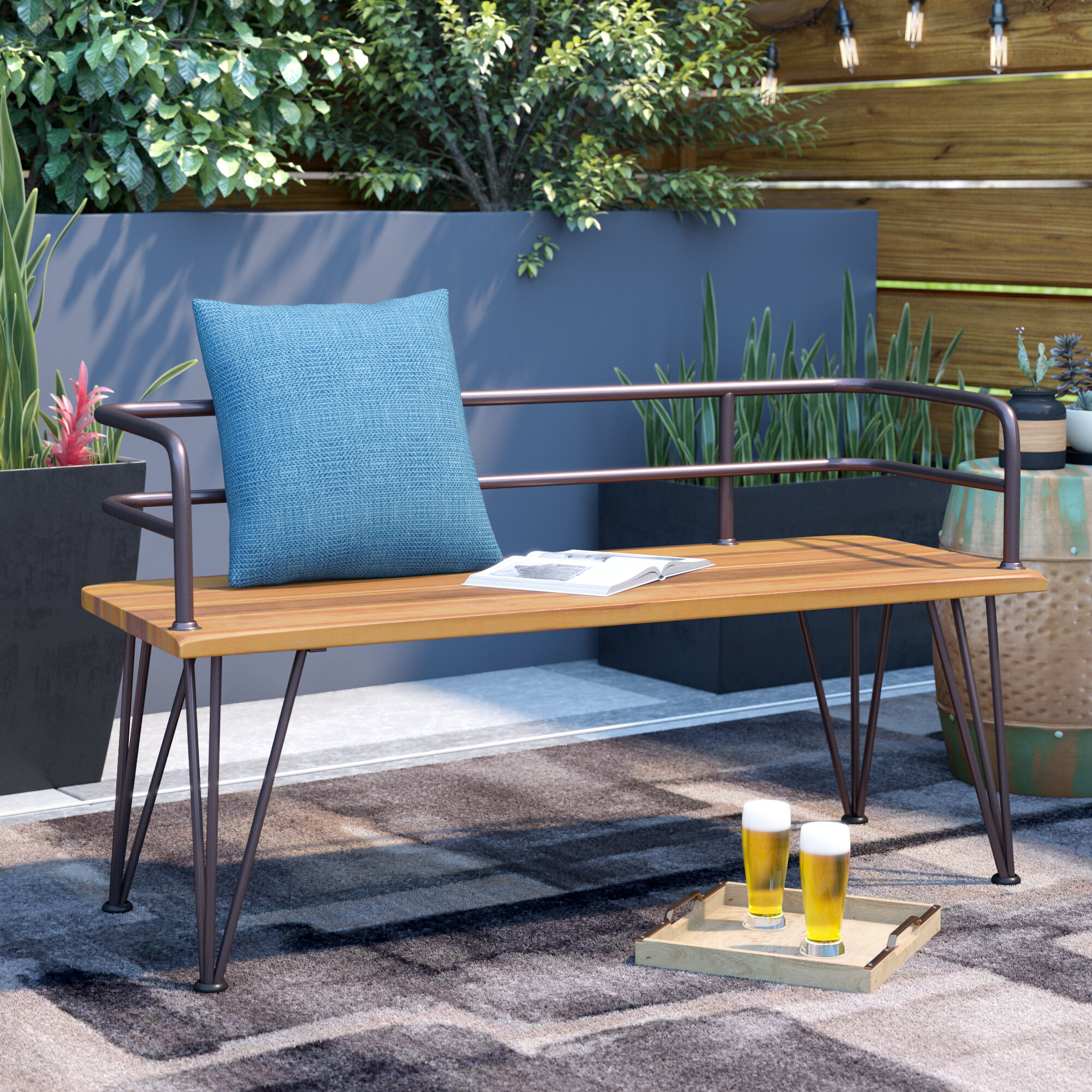 With Arms Outdoor Benches You'Ll Love In 2020 | Wayfair Regarding Krystal Ergonomic Metal Garden Benches (View 8 of 25)
