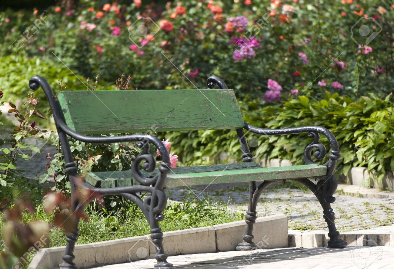 Wrought Iron Garden Bench Amid Blooming Roses Throughout Blooming Iron Garden Benches (View 8 of 25)
