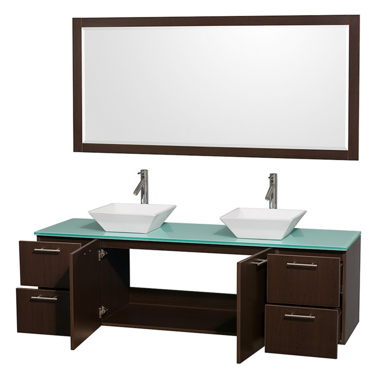 Wyndham Collection Amare 72 Inch Double Bathroom Vanity In Espresso, Green Glass Countertop, Arista Black Granite Sinks, And 70 Inch Mirror With Arista Ceramic Garden Stools (View 19 of 25)