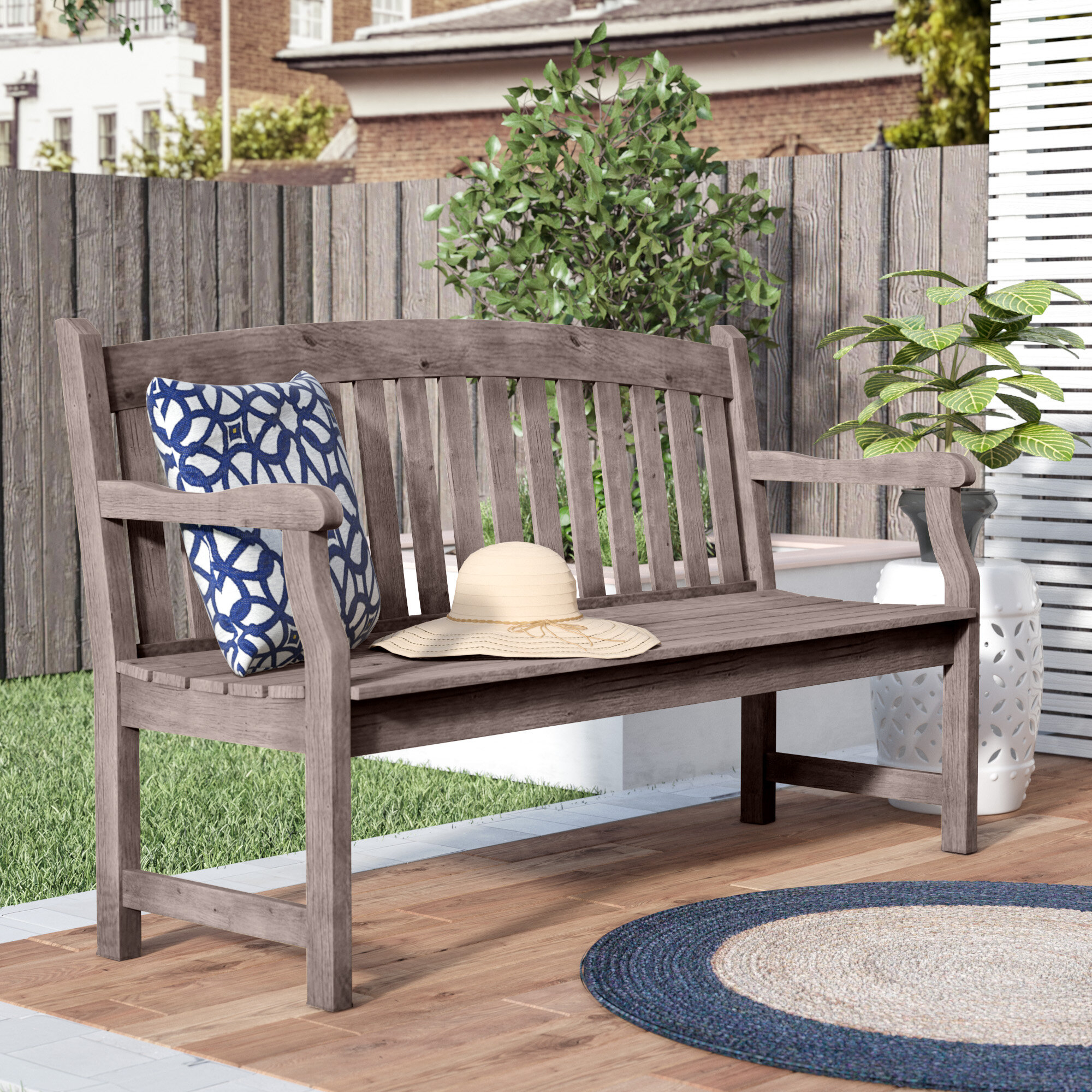 Zephyrine Patio Dining Wooden Picnic Bench With Regard To Lucille Timberland Wooden Garden Benches (View 13 of 25)