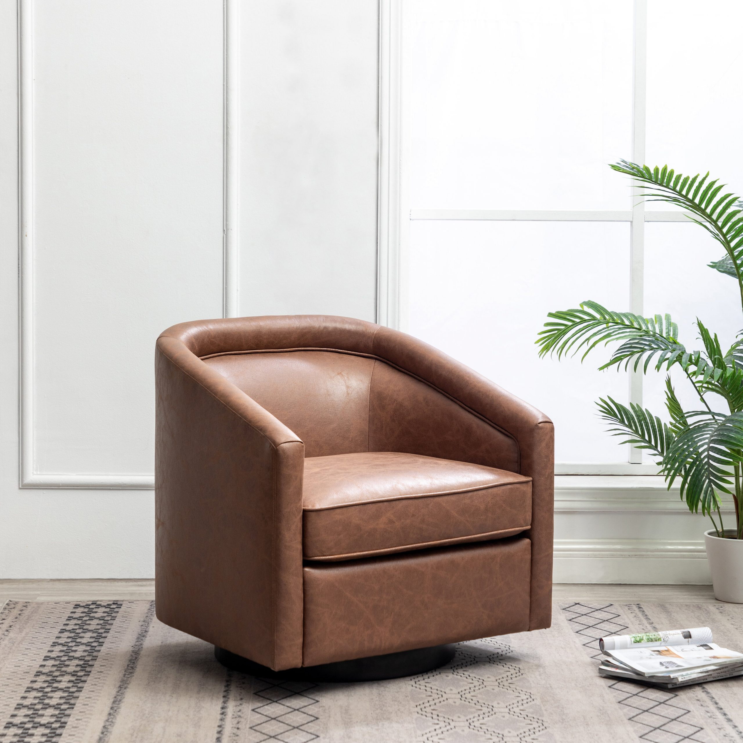 Featured Image of Hazley Faux Leather Swivel Barrel Chairs