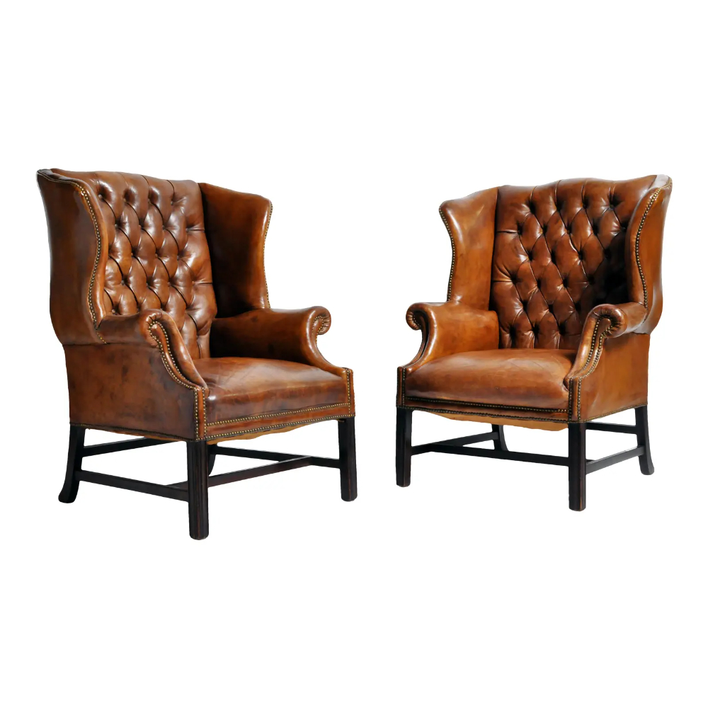 1910S Vintage English Leather Wingback Armchairs – A Pair Pertaining To Columbus Armchairs (View 12 of 15)