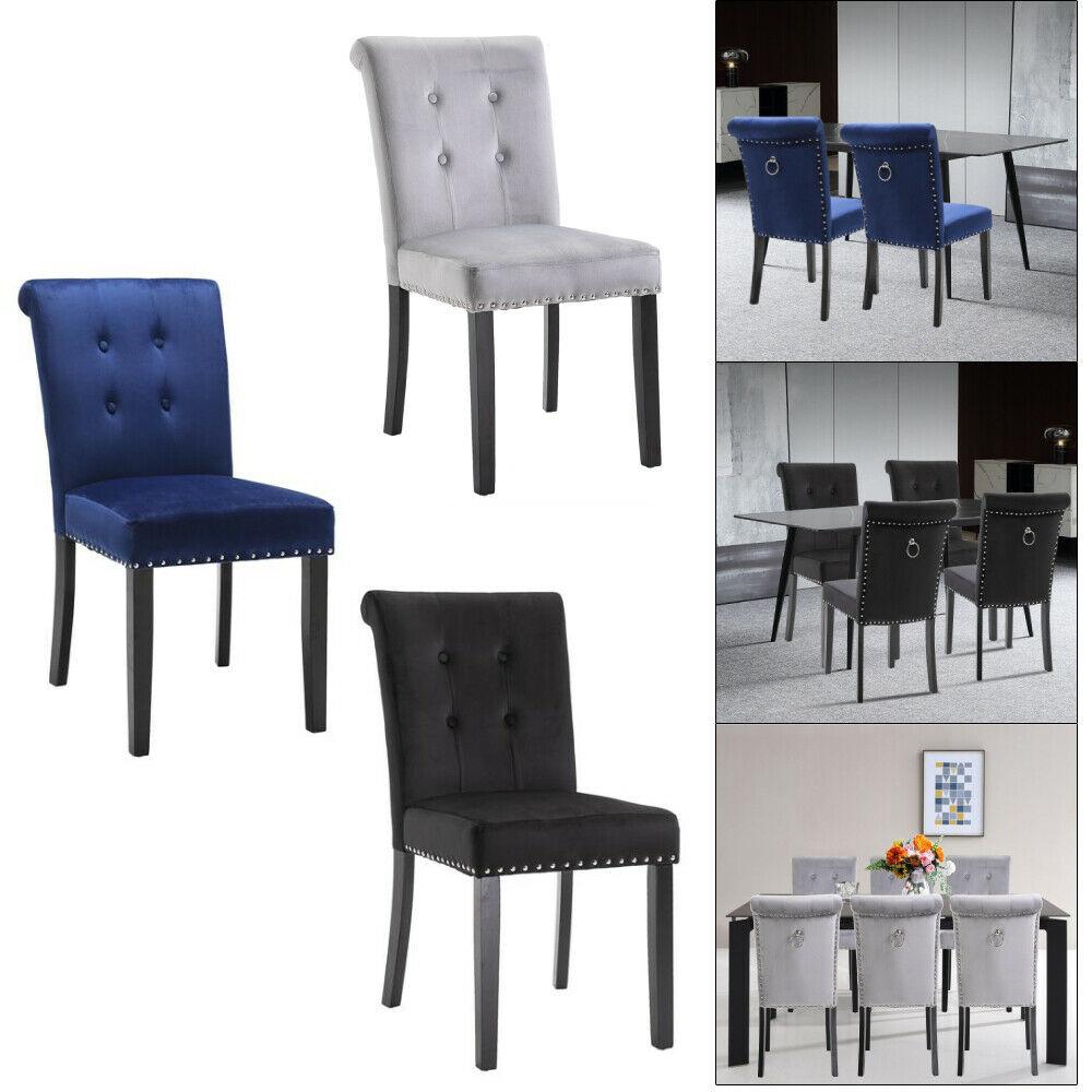2/4/6 Set Velvet Dining Chair Accent Upholstered Wood Leg Chair Kitchen Formal Inside Carlton Wood Leg Upholstered Dining Chairs (View 4 of 15)