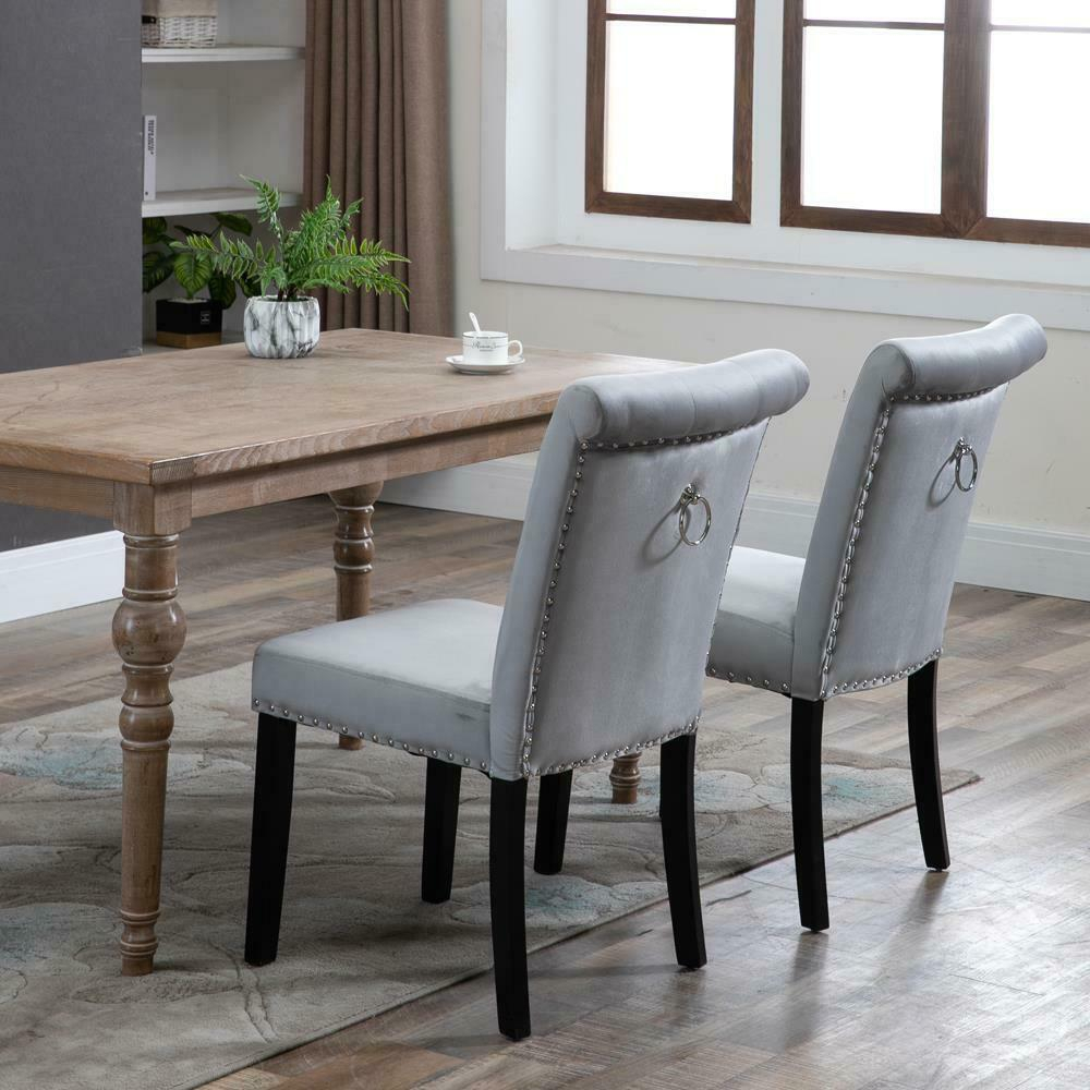 2/4/6 Set Velvet Dining Chair Accent Upholstered Wood Leg Chair Kitchen  Formal Within Carlton Wood Leg Upholstered Dining Chairs (View 14 of 15)