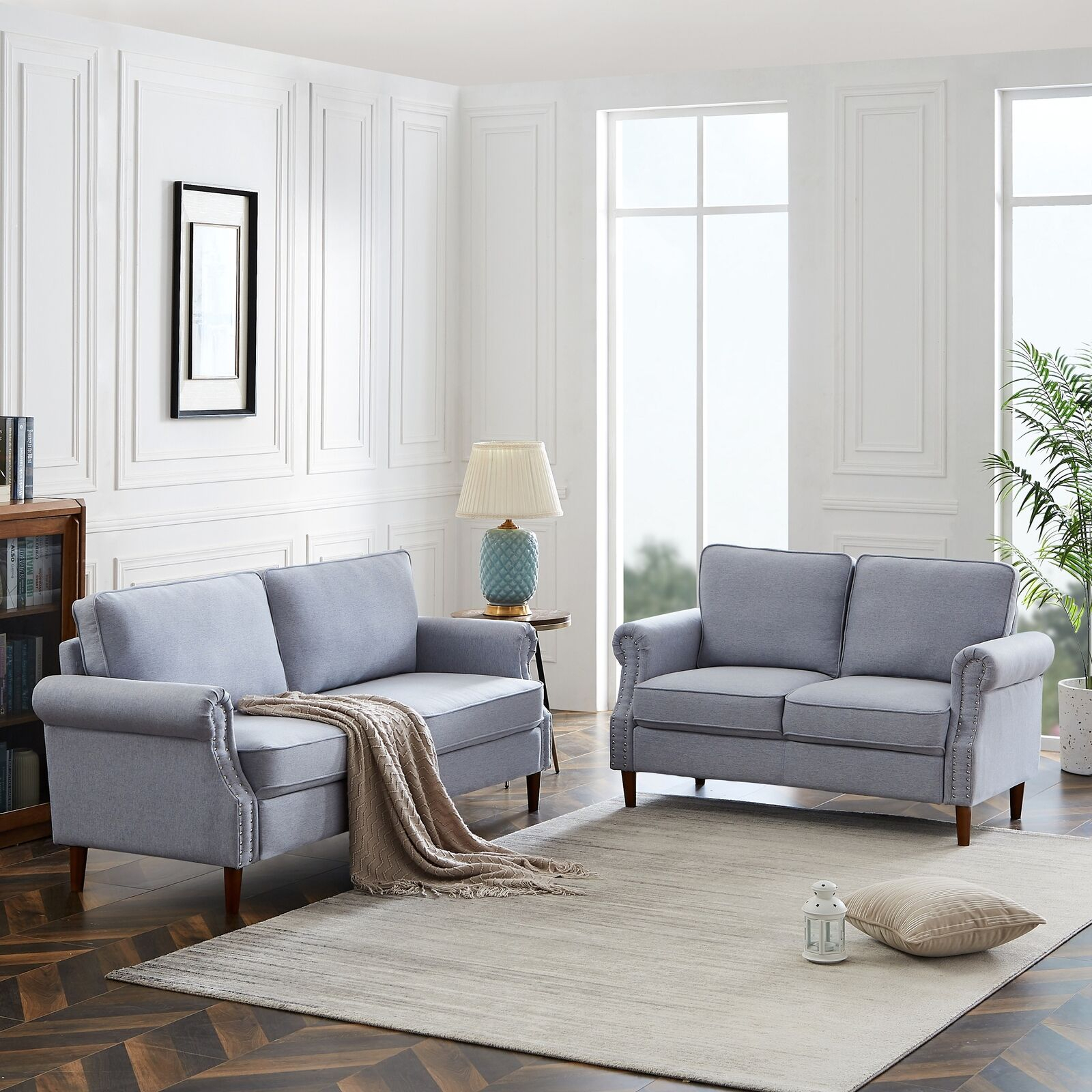 2 Piece Sofa Set Morden Style Couch Upholstered Sectional Loveseat Living Room With Myia Armchairs (View 13 of 15)