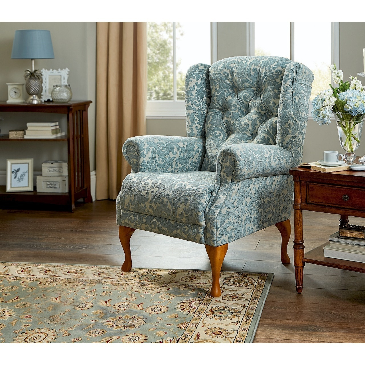 2 Piece Suite Offer – Bespoke Handmade Button Back Queen Anne Sofa And One Armchair For Portmeirion Armchairs (View 2 of 15)