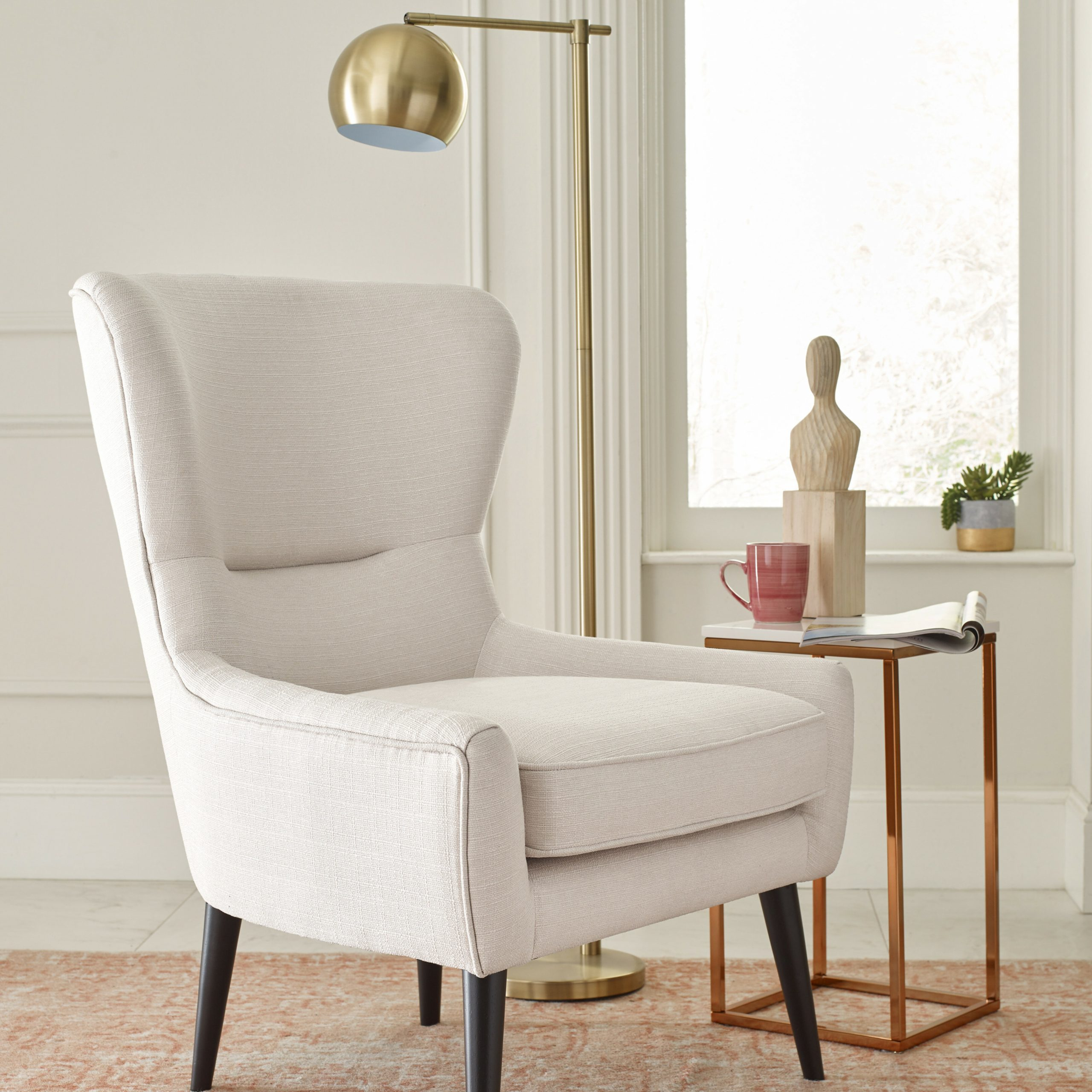 """29"""" W Faux Leather Wingback Chair With Regard To Busti Wingback Chairs (View 11 of 15)"""