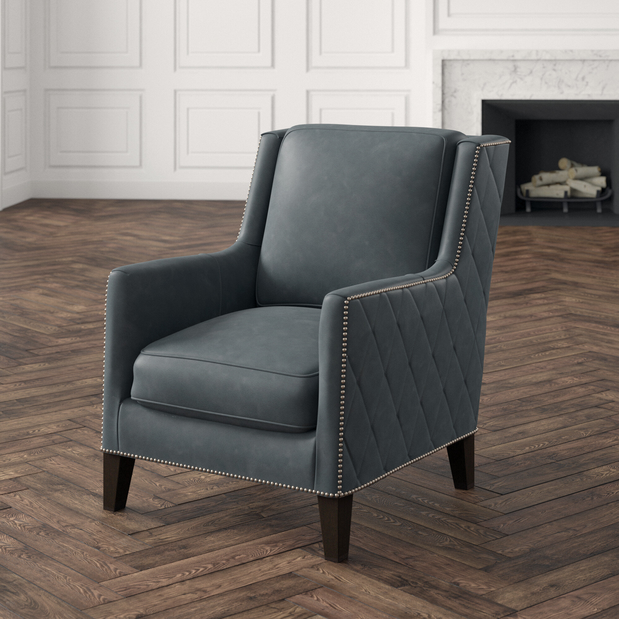 "30"" W Top Grain Leather Armchair In Almada Armchairs (View 11 of 15)"