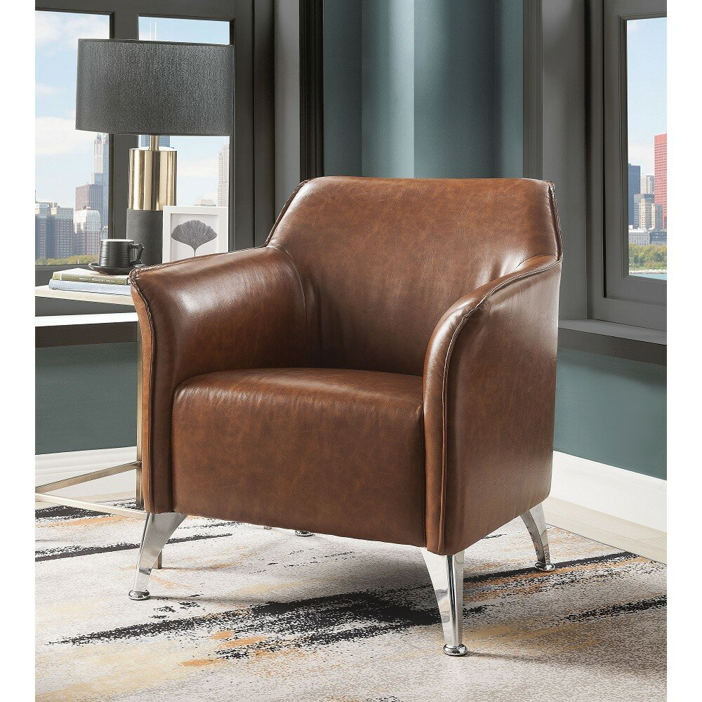 "31"" W Faux Leather Armchair With Regard To Jarin Faux Leather Armchairs (View 3 of 15)"