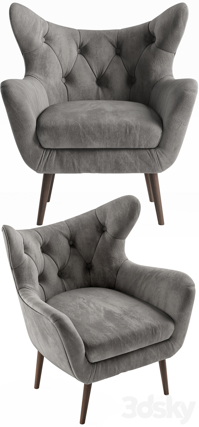 3D Models: Arm Chair – Bouck Wingback Chair Intended For Bouck Wingback Chairs (View 13 of 15)