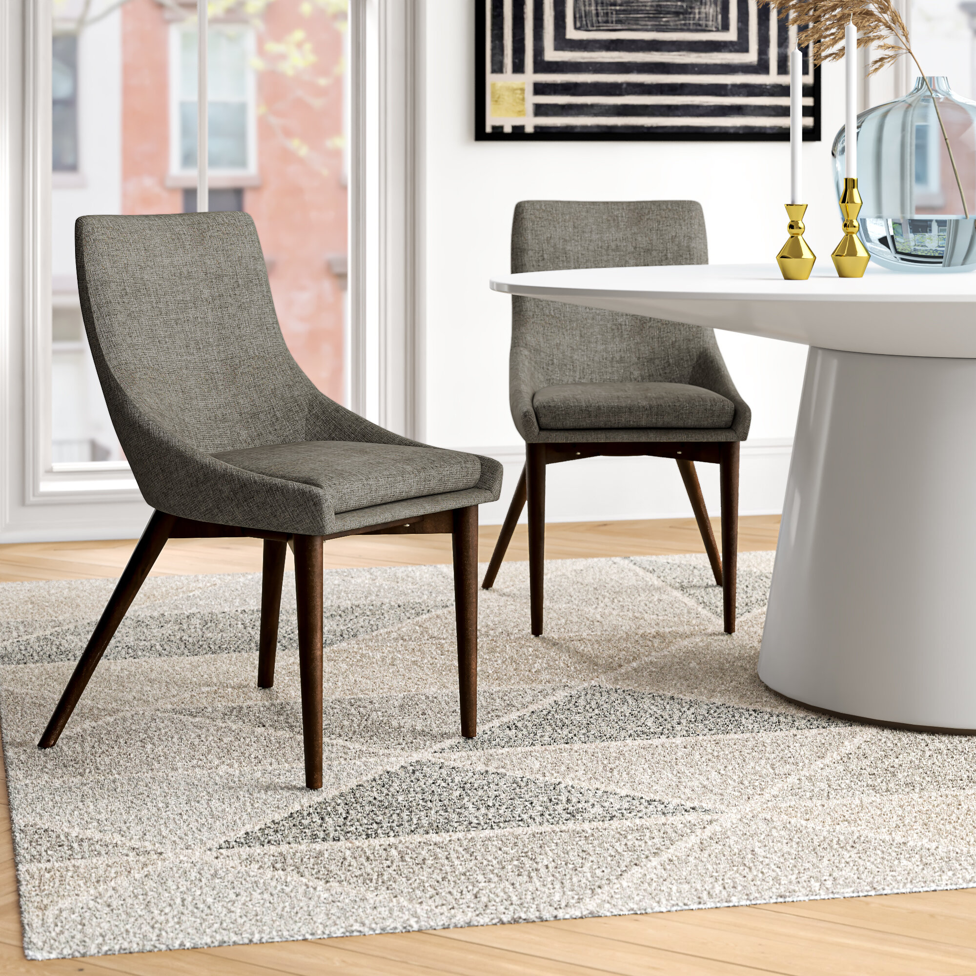 Aaliyah Cotton Upholstered Side Chair In Gray Throughout Aaliyah Parsons Chairs (View 2 of 15)