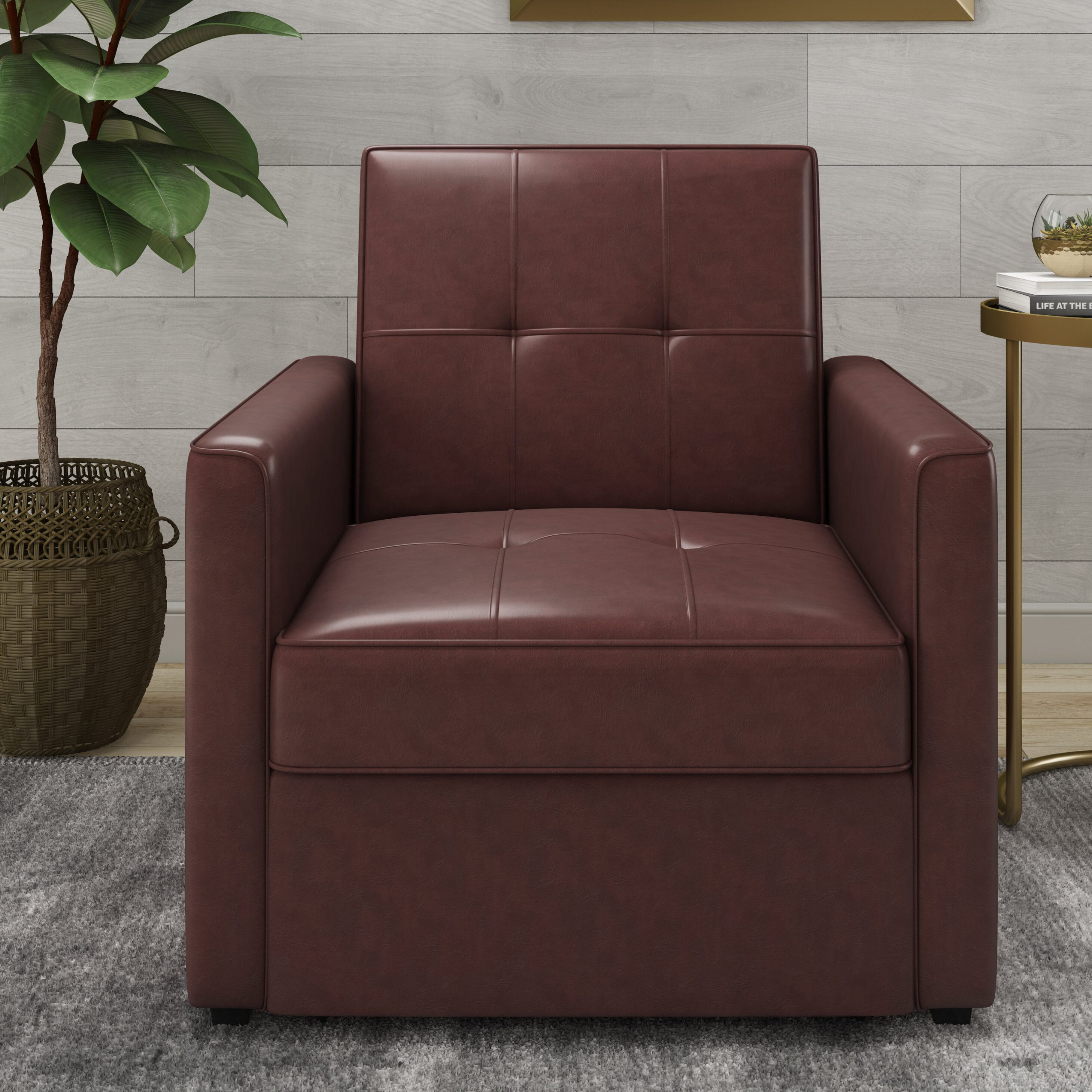 Abdiwali Convertible Chair Within Perz Tufted Faux Leather Convertible Chairs (View 11 of 15)