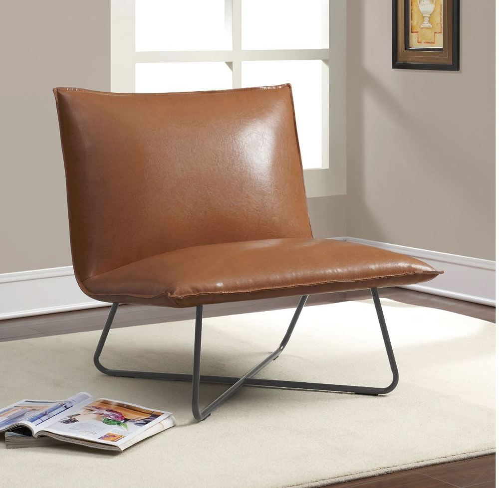Accent Chairs For Living Room Modern Lounge Indoor Saddle For Broadus Genuine Leather Suede Side Chairs (View 8 of 15)