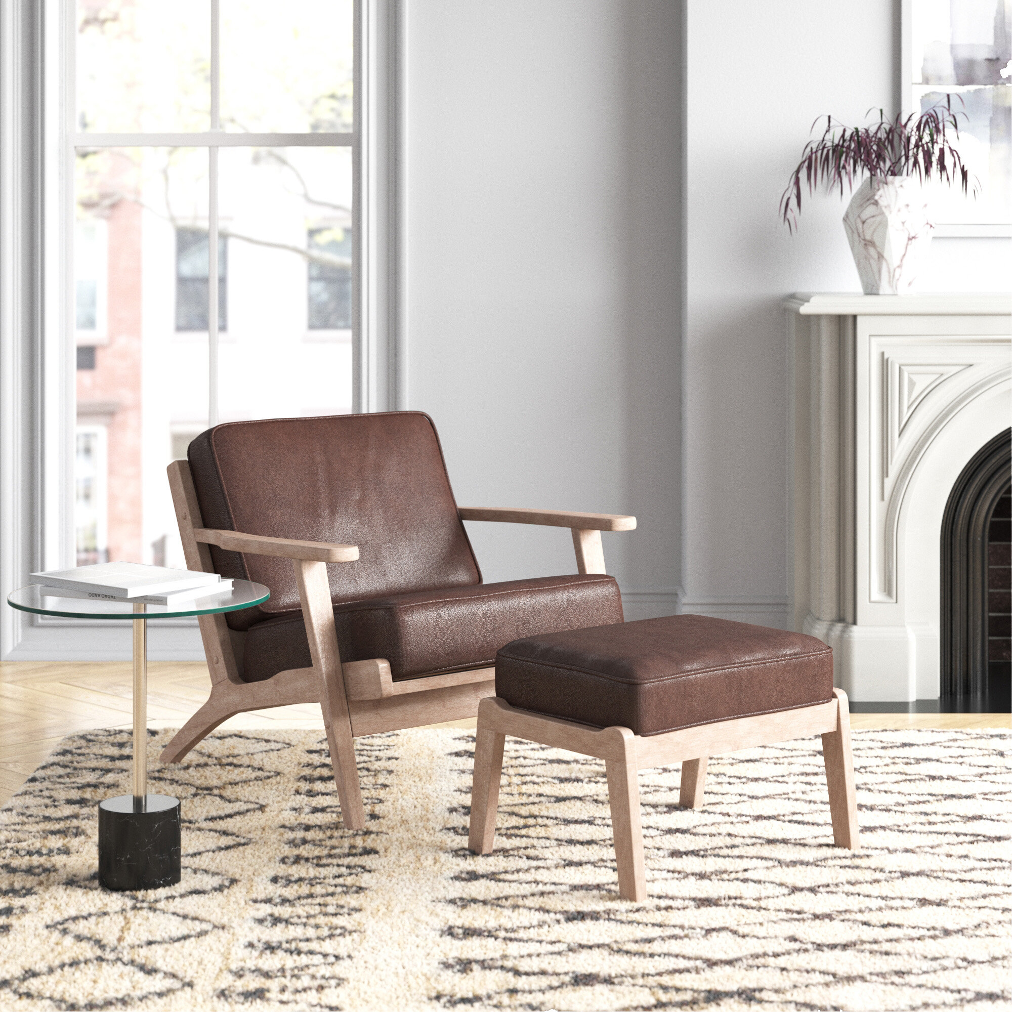 Adal Mid Century Modern Dark Brown Faux Leather Effect Fabric Upholstered Antique Oak Finished 2 Piece Wood Armchair And Ottoman Set For Modern Armchairs And Ottoman (View 9 of 15)