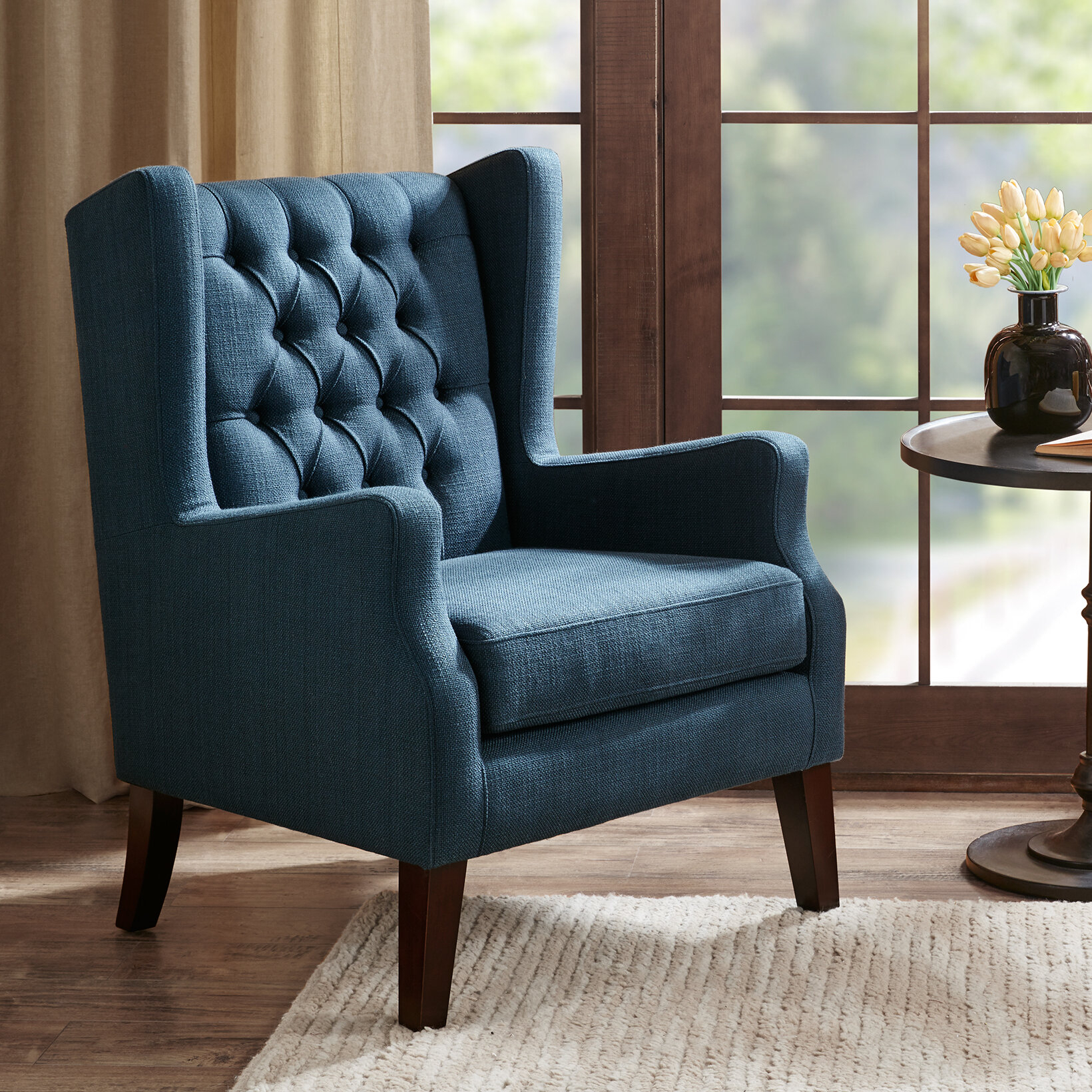 Allis Wingback Chair In Allis Tufted Polyester Blend Wingback Chairs (View 2 of 15)