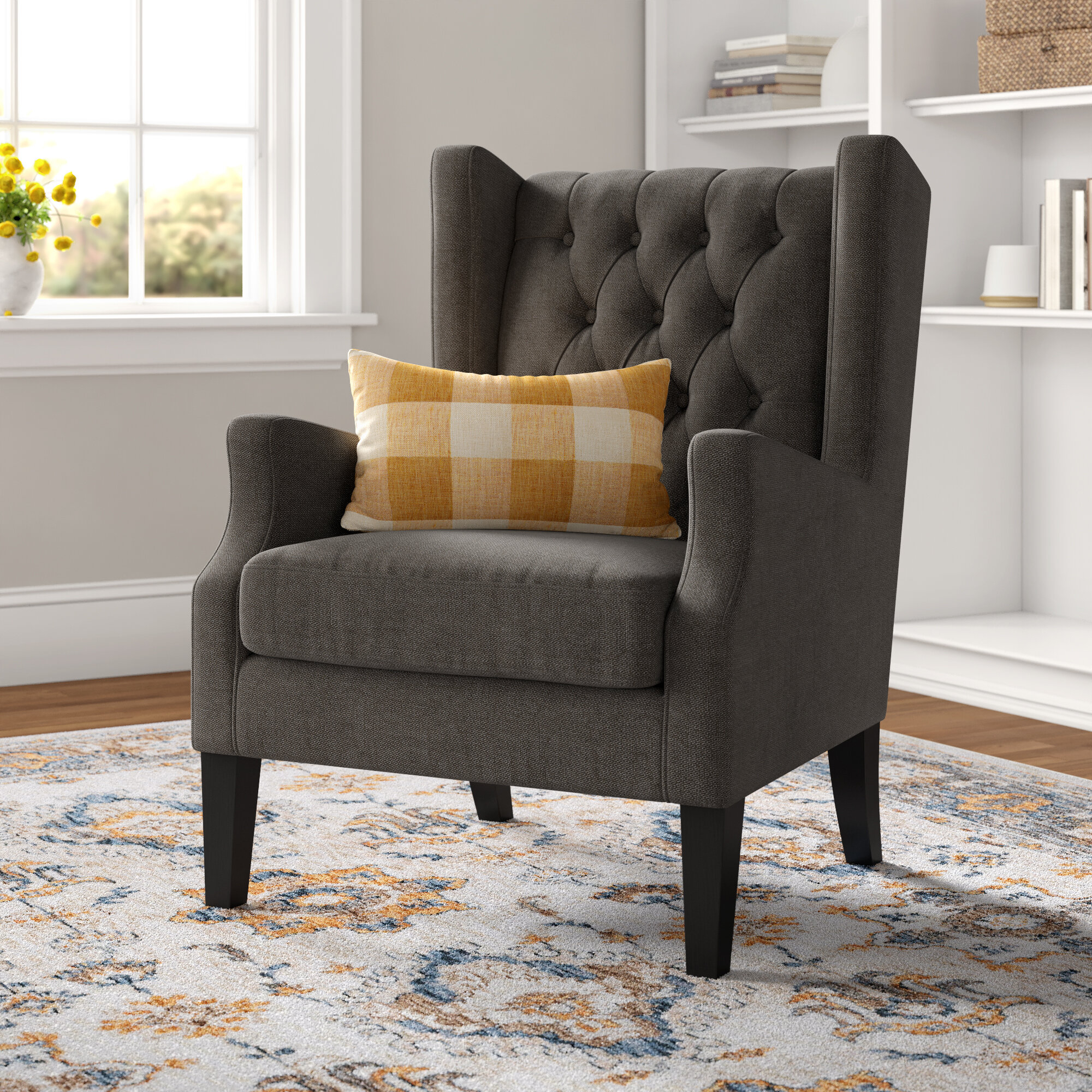 Allis Wingback Chair With Regard To Allis Tufted Polyester Blend Wingback Chairs (View 14 of 15)