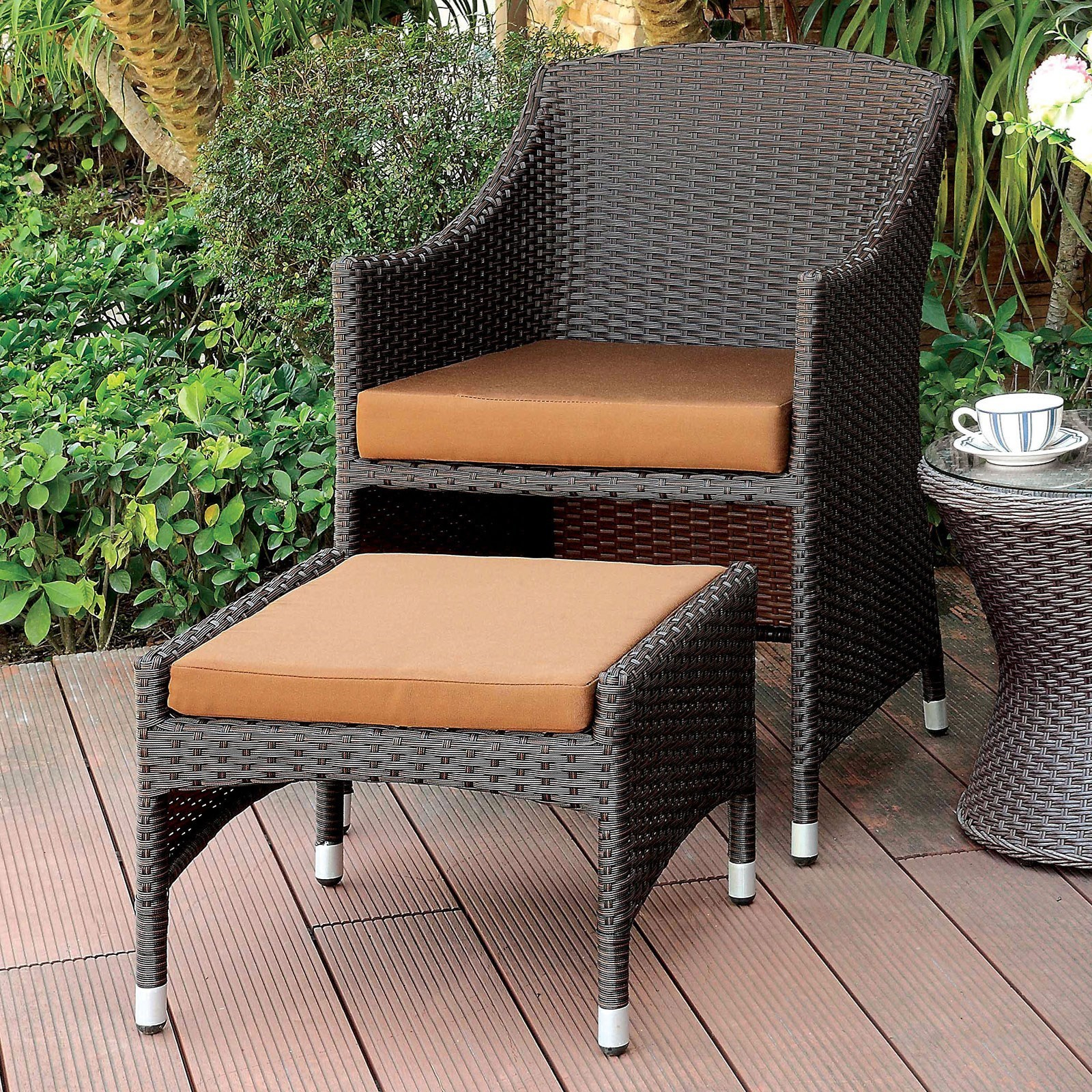 Almada Outdoor Arm Chair + Ottoman Throughout Almada Armchairs (View 7 of 15)
