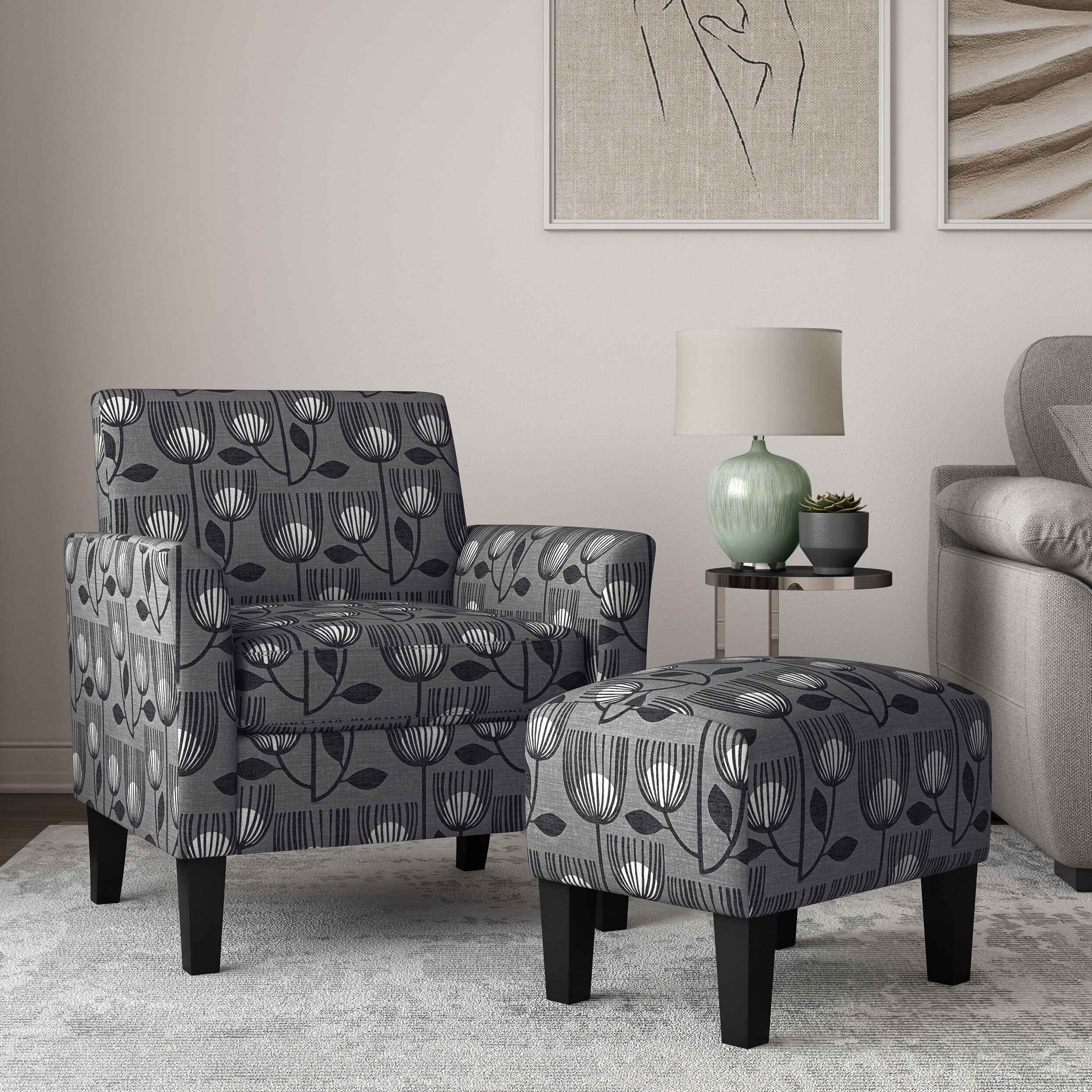 Andover Mills™ Reese Flared Armchair And Ottoman & Reviews For Michalak Cheswood Armchairs And Ottoman (View 6 of 15)