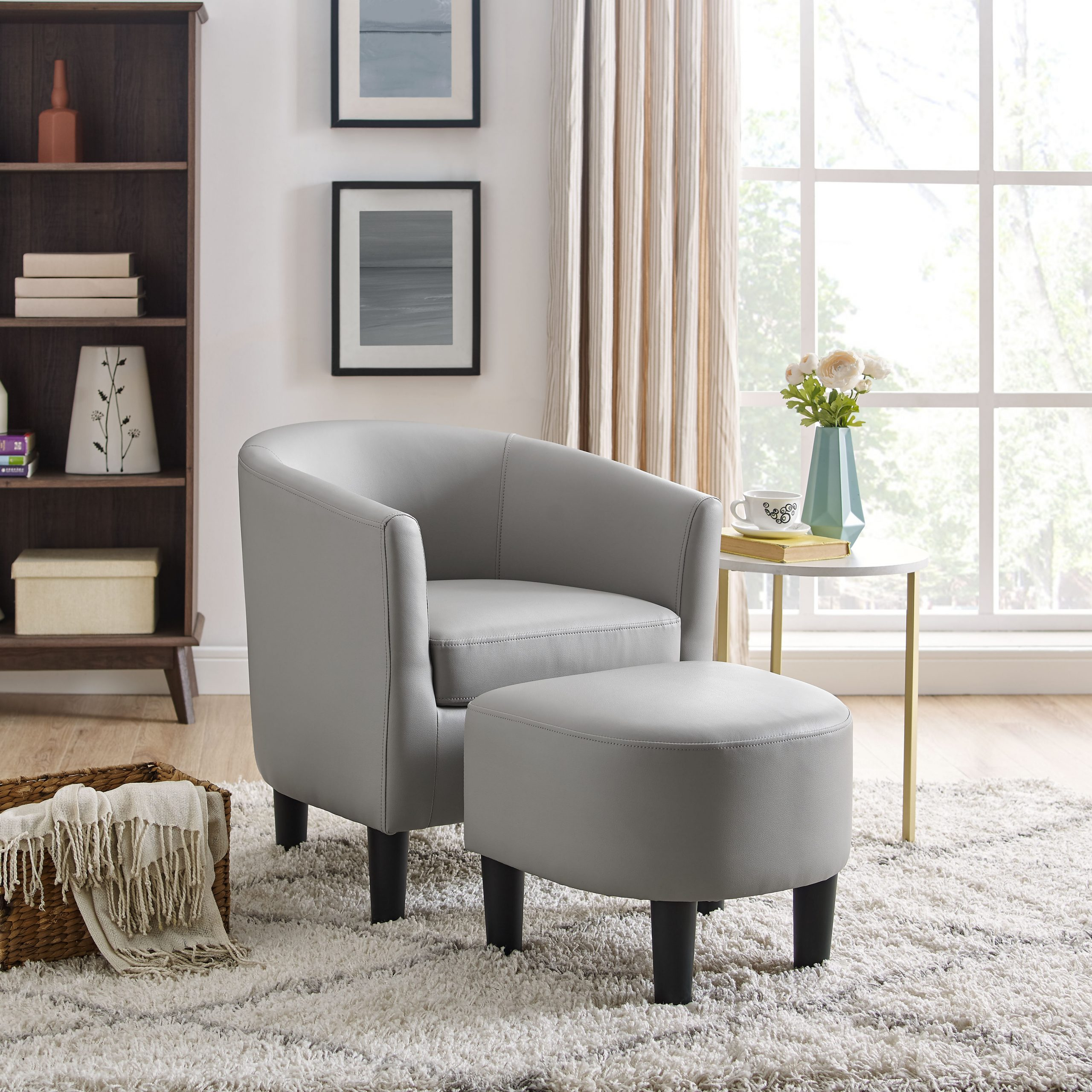 Featured Image of Annegret Faux Leather Barrel Chair And Ottoman Sets