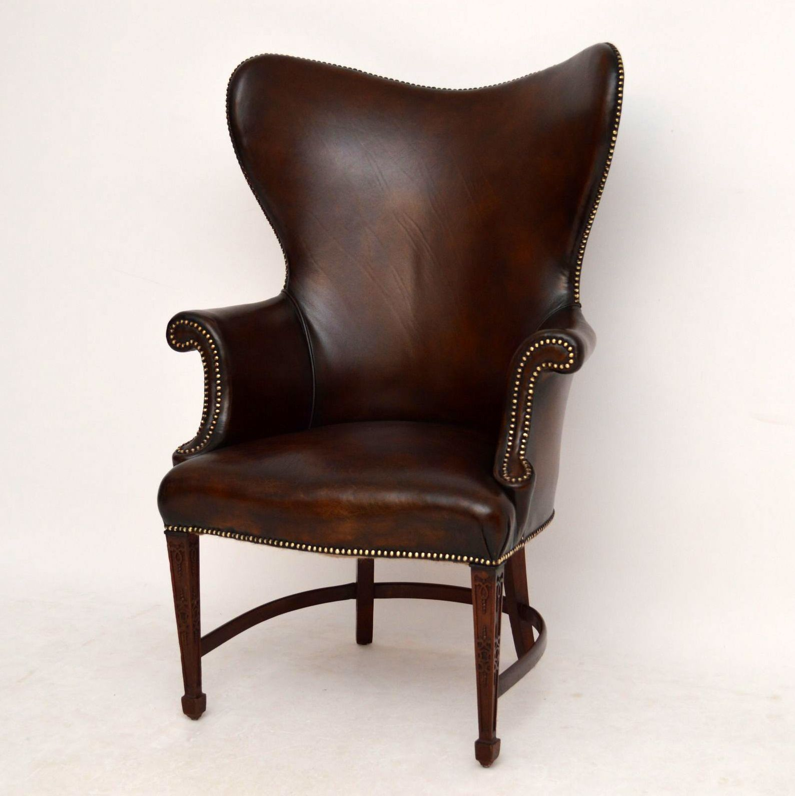 Antique Leather & Mahogany Wing Armchair   Church Street With Hofstetter Armchairs (View 11 of 15)