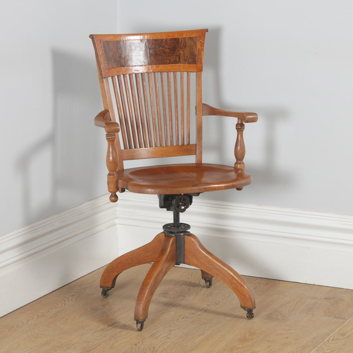 Antique Swivel Desk Chair – Victorian American Office – Yola Within Michalak Cheswood Armchairs And Ottoman (View 11 of 15)