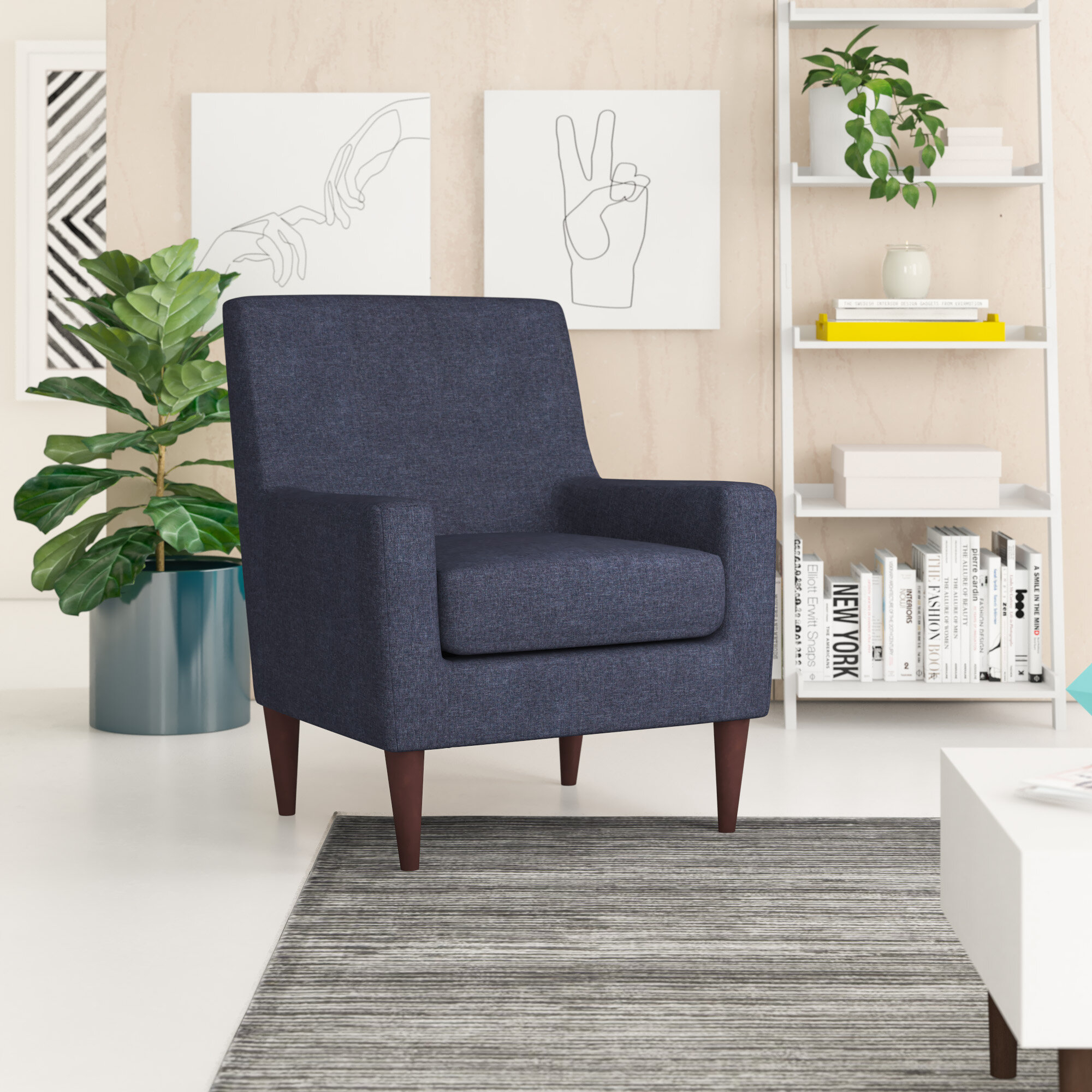 Arm Blue Accent Chairs You'Ll Love In 2021 | Wayfair With Bethine Polyester Armchairs (Set Of 2) (View 14 of 15)