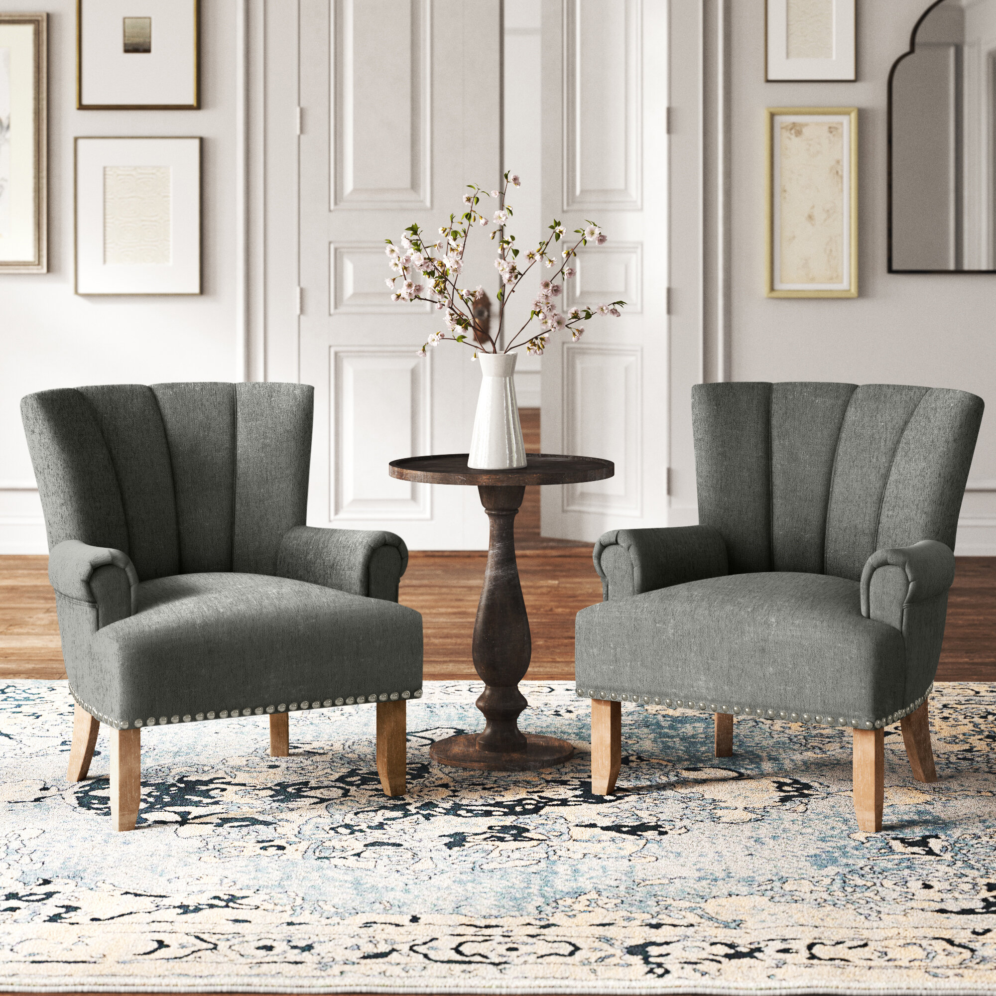 Arm Chair Set Accent Chairs You'Ll Love In 2021 | Wayfair Inside Georgina Armchairs (Set Of 2) (View 12 of 15)