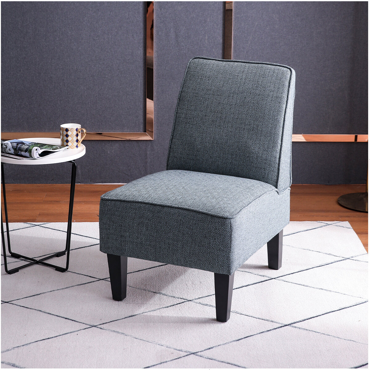 Armless Upholstered Slipper Chair Throughout Armless Upholstered Slipper Chairs (View 2 of 15)