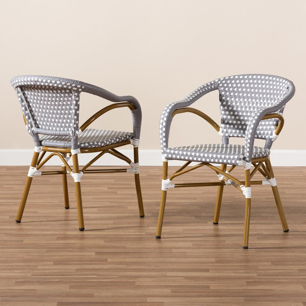 Artressia Stacking Bamboo Patio Dining Armchair With Cushion With Artressia Barrel Chairs (View 3 of 15)