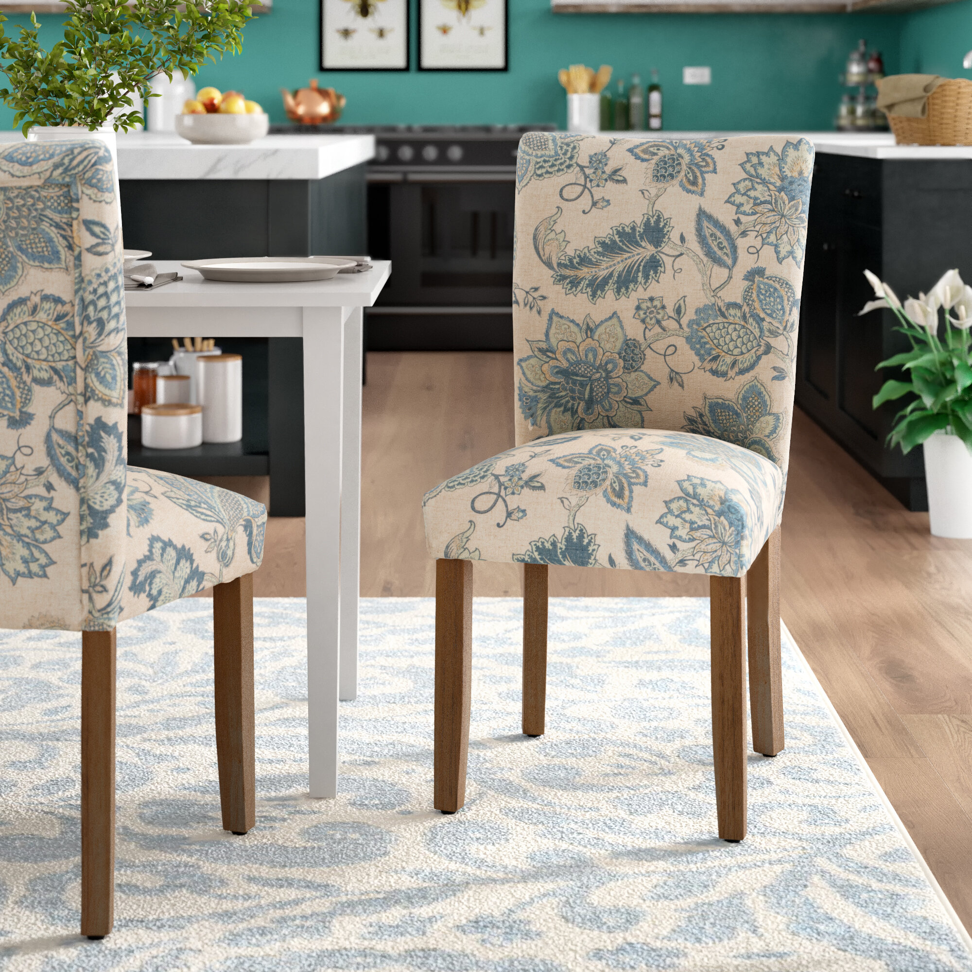 August Grove® Gaillard Upholstered Parsons Chair In Tan/Blue In Bob Stripe Upholstered Dining Chairs (Set Of 2) (View 12 of 15)