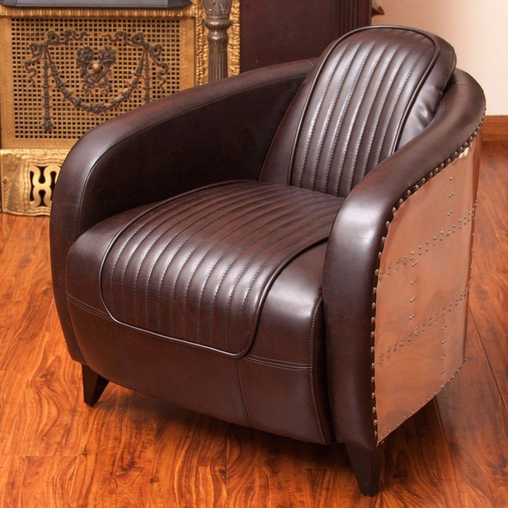 Avion Wwii Jet Fighter Design Leather Club Chair In Aluminum For Danny Barrel Chairs (Set Of 2) (View 13 of 15)
