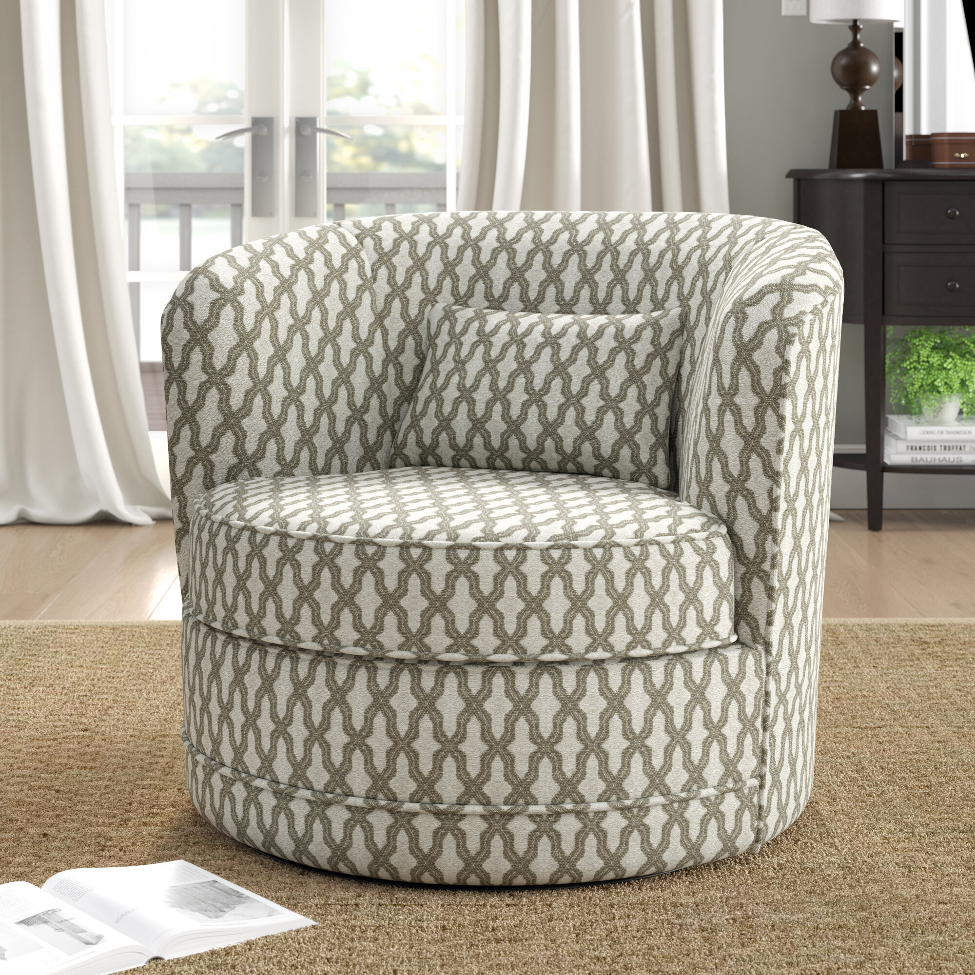 Barrel Accent Chairs On Sale | Wayfair Intended For Jazouli Linen Barrel Chairs And Ottoman (View 12 of 15)