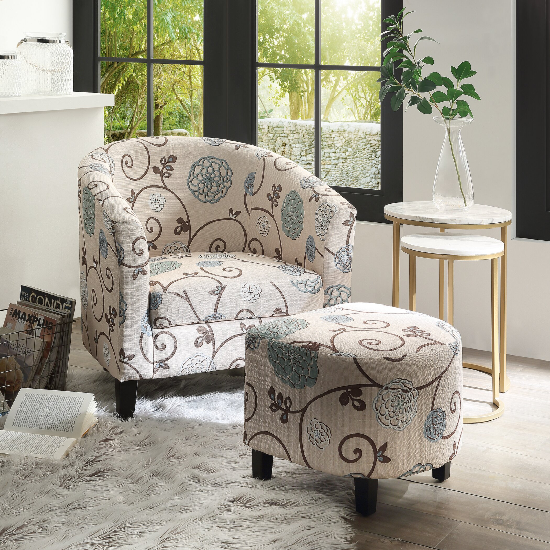 Barrel Accent Chairs On Sale | Wayfair Within Jazouli Linen Barrel Chairs And Ottoman (View 8 of 15)