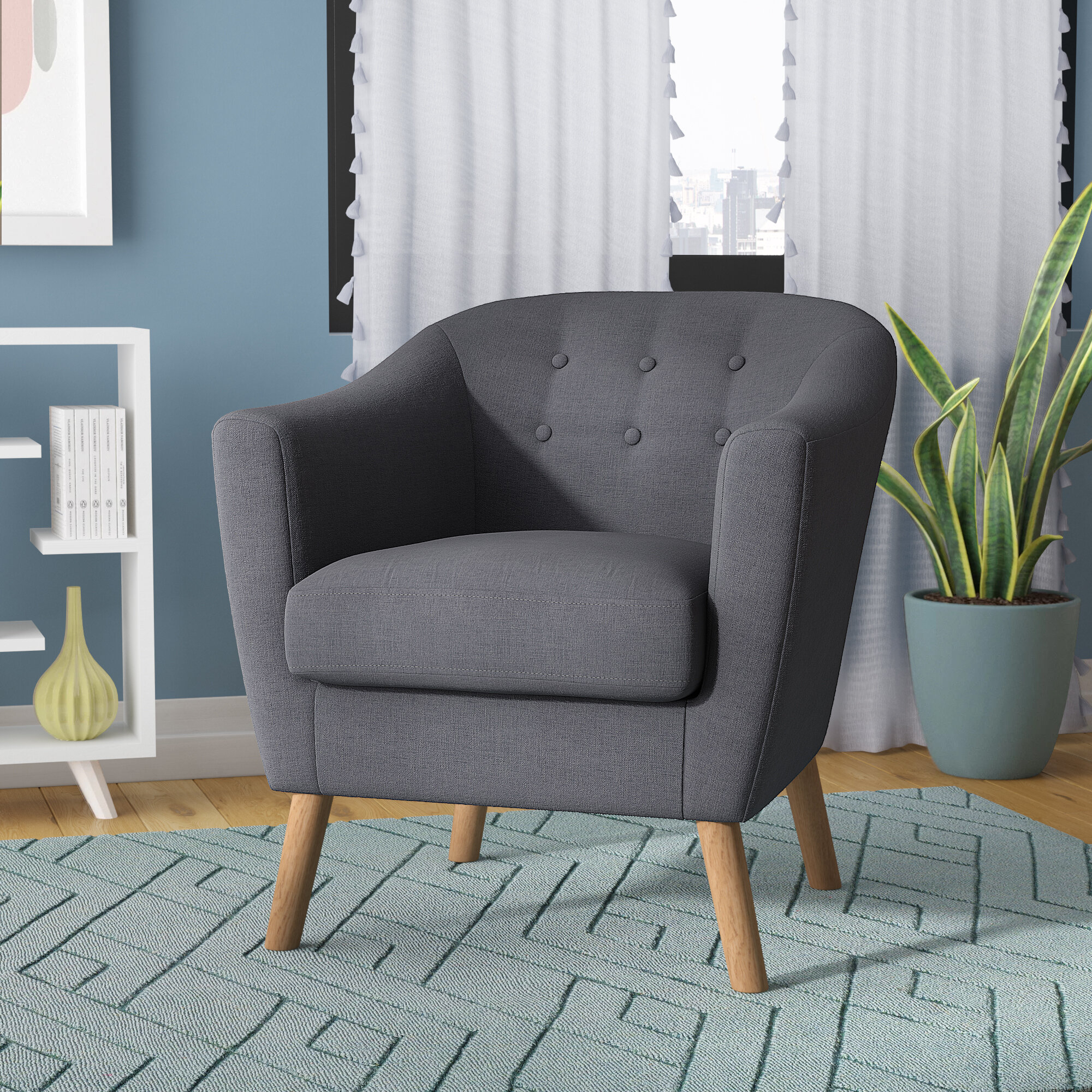 Barrel Linen Accent Chairs You'Ll Love In 2021 | Wayfair Intended For Blaithin Simple Single Barrel Chairs (View 3 of 15)