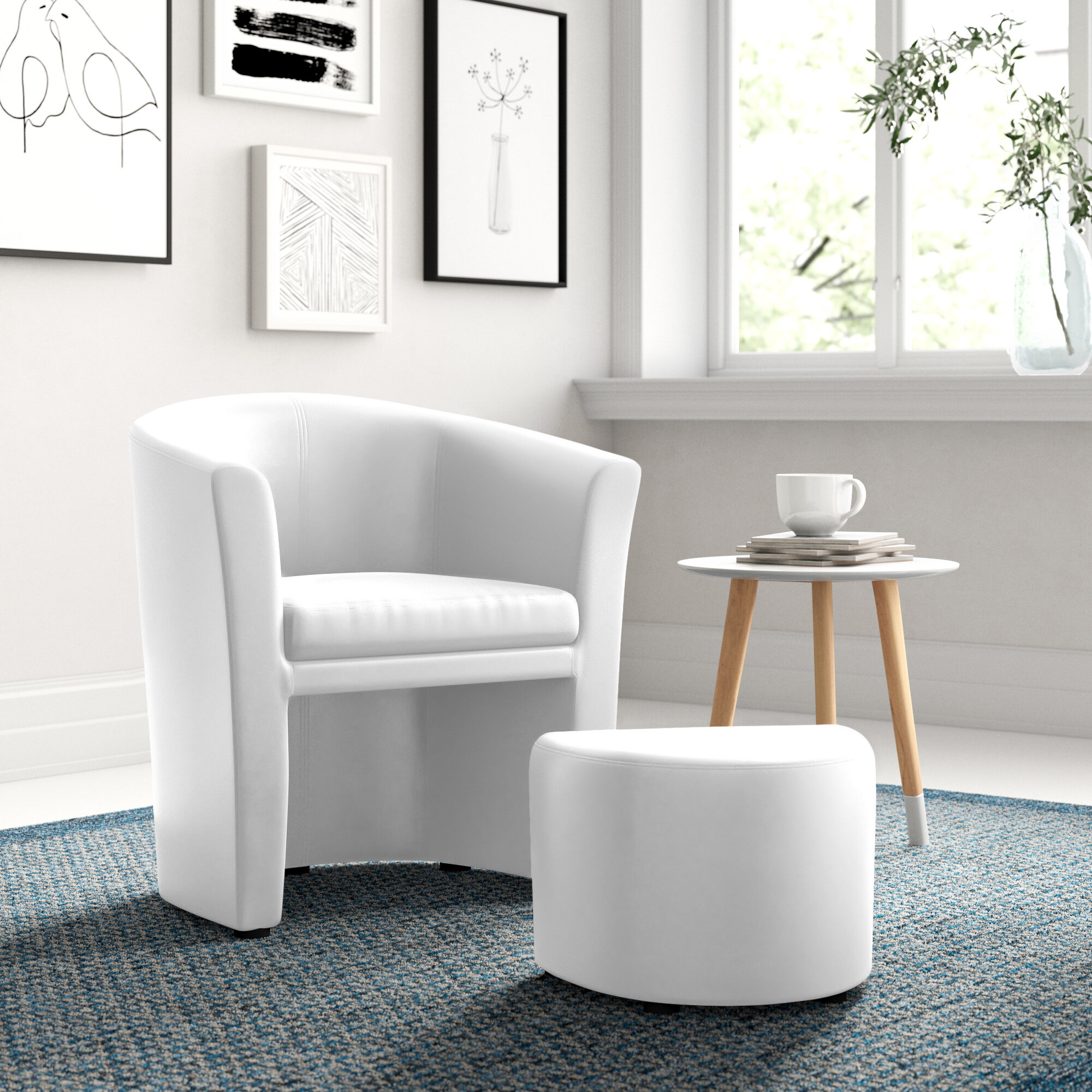 Barrel White Accent Chairs You'Ll Love In 2021 | Wayfair Intended For Gilad Faux Leather Barrel Chairs (View 6 of 15)