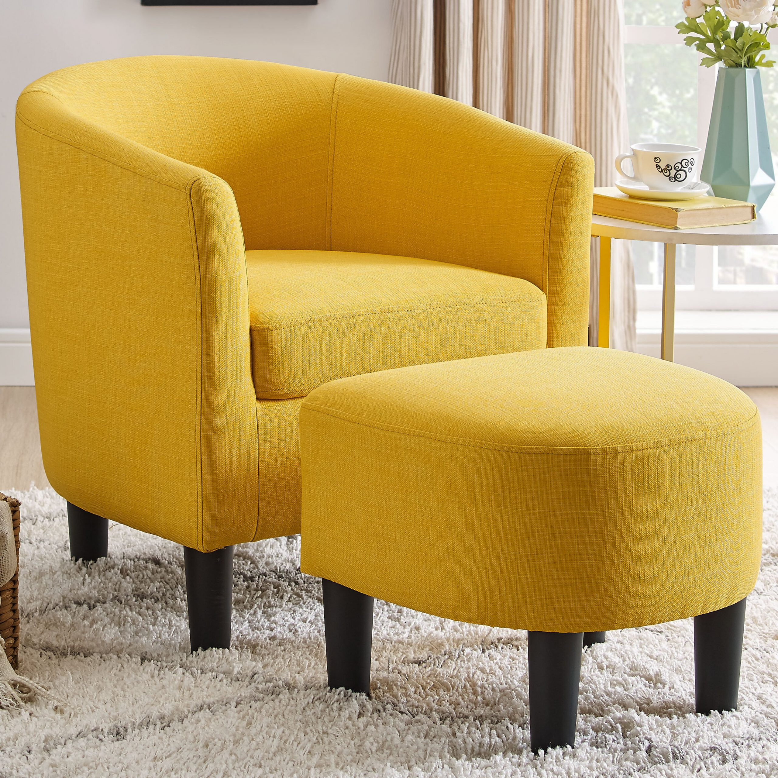Barrel Yellow Accent Chairs You'Ll Love In 2021 | Wayfair For Jazouli Linen Barrel Chairs And Ottoman (View 3 of 15)