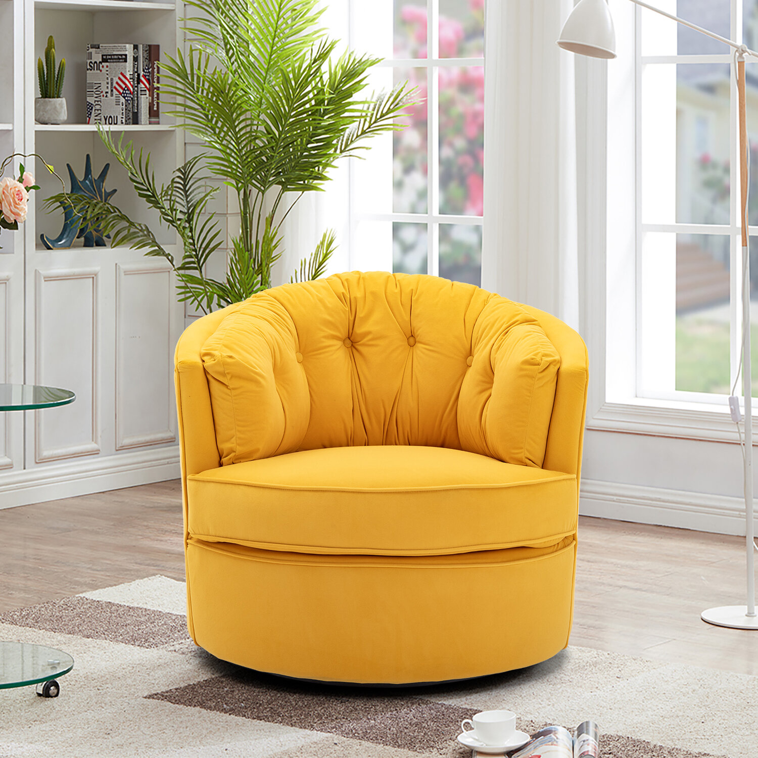 Barrel Yellow Accent Chairs You'Ll Love In 2021 | Wayfair Regarding Alwillie Tufted Back Barrel Chairs (View 11 of 15)