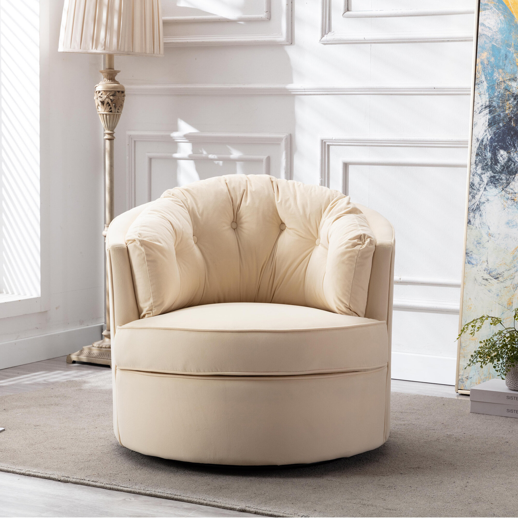Barrel Yellow Accent Chairs You'Ll Love In 2021 | Wayfair With Alwillie Tufted Back Barrel Chairs (View 5 of 15)