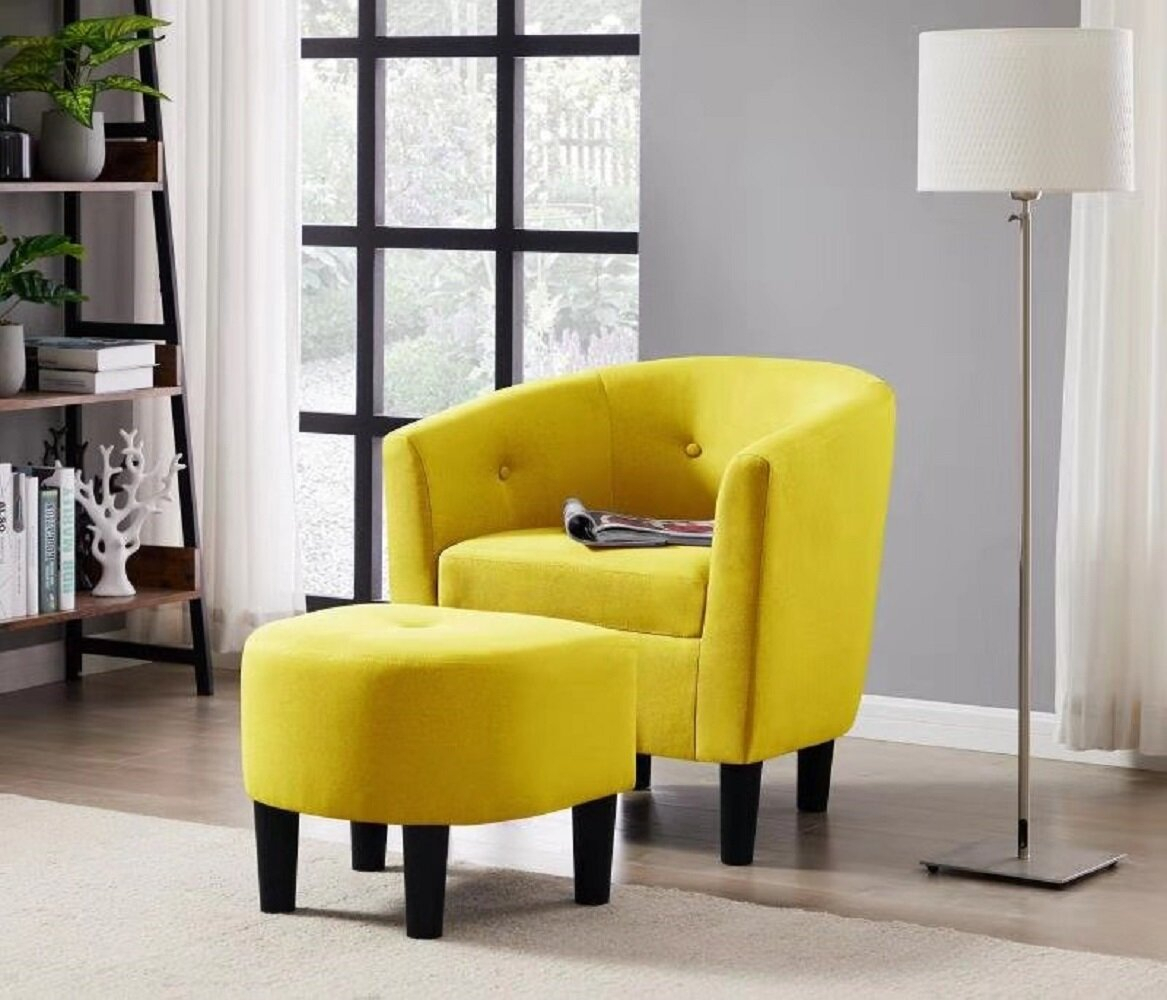 Barrel Yellow Accent Chairs You'Ll Love In 2021 | Wayfair With Harmon Cloud Barrel Chairs And Ottoman (View 6 of 15)