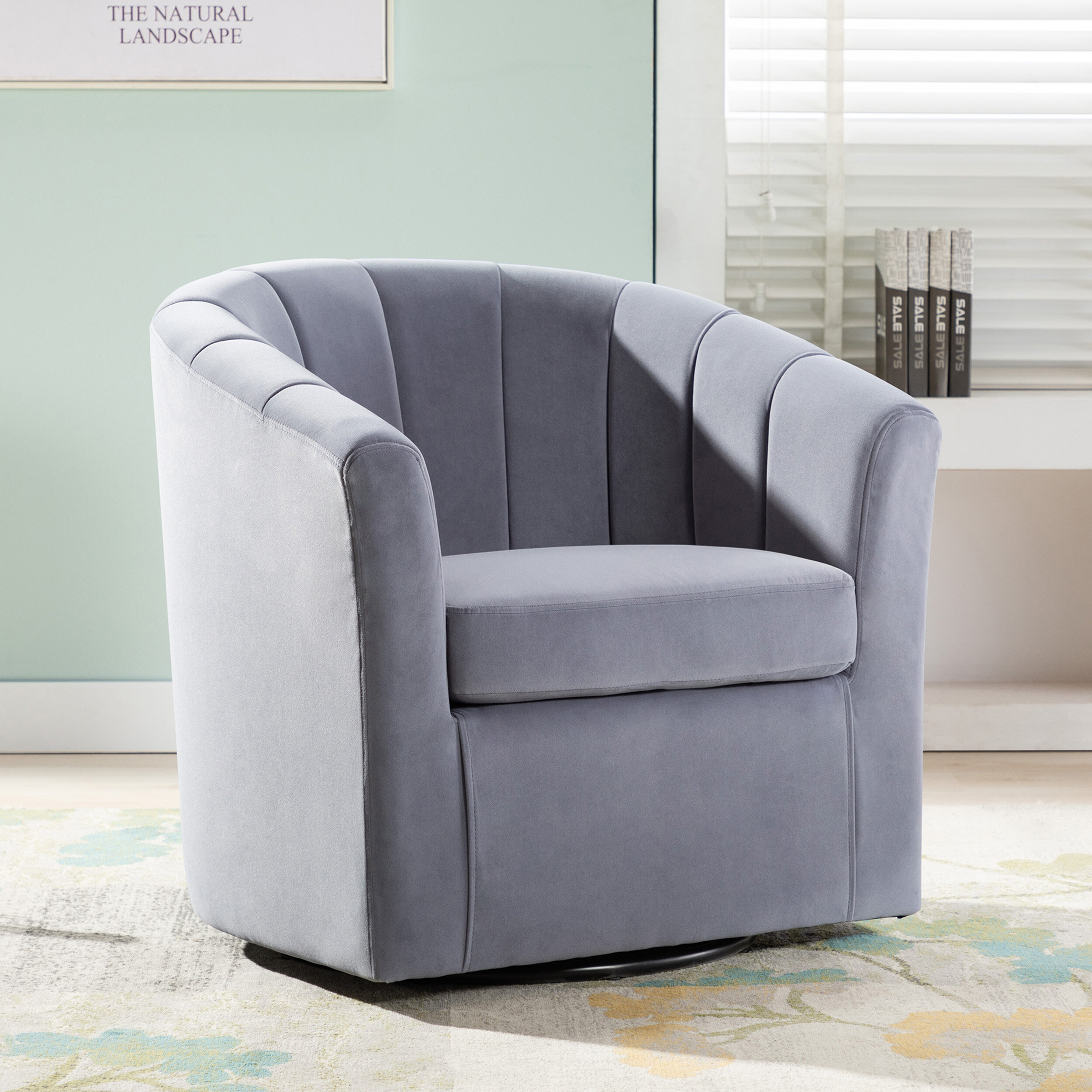 Barrentine Swivel Barrel Chair Inside Claudel Polyester Blend Barrel Chairs (View 3 of 15)