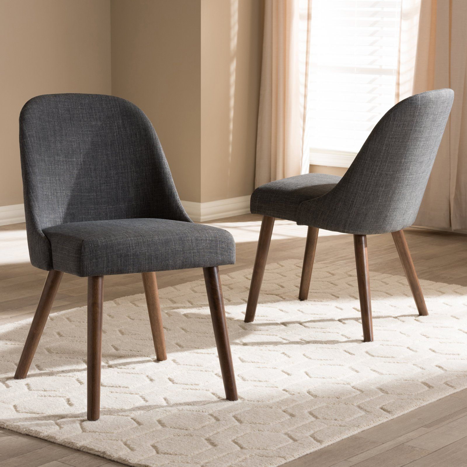 Baxton Studio Cody Mid Century Modern Fabric Upholstered With Carlton Wood Leg Upholstered Dining Chairs (View 9 of 15)