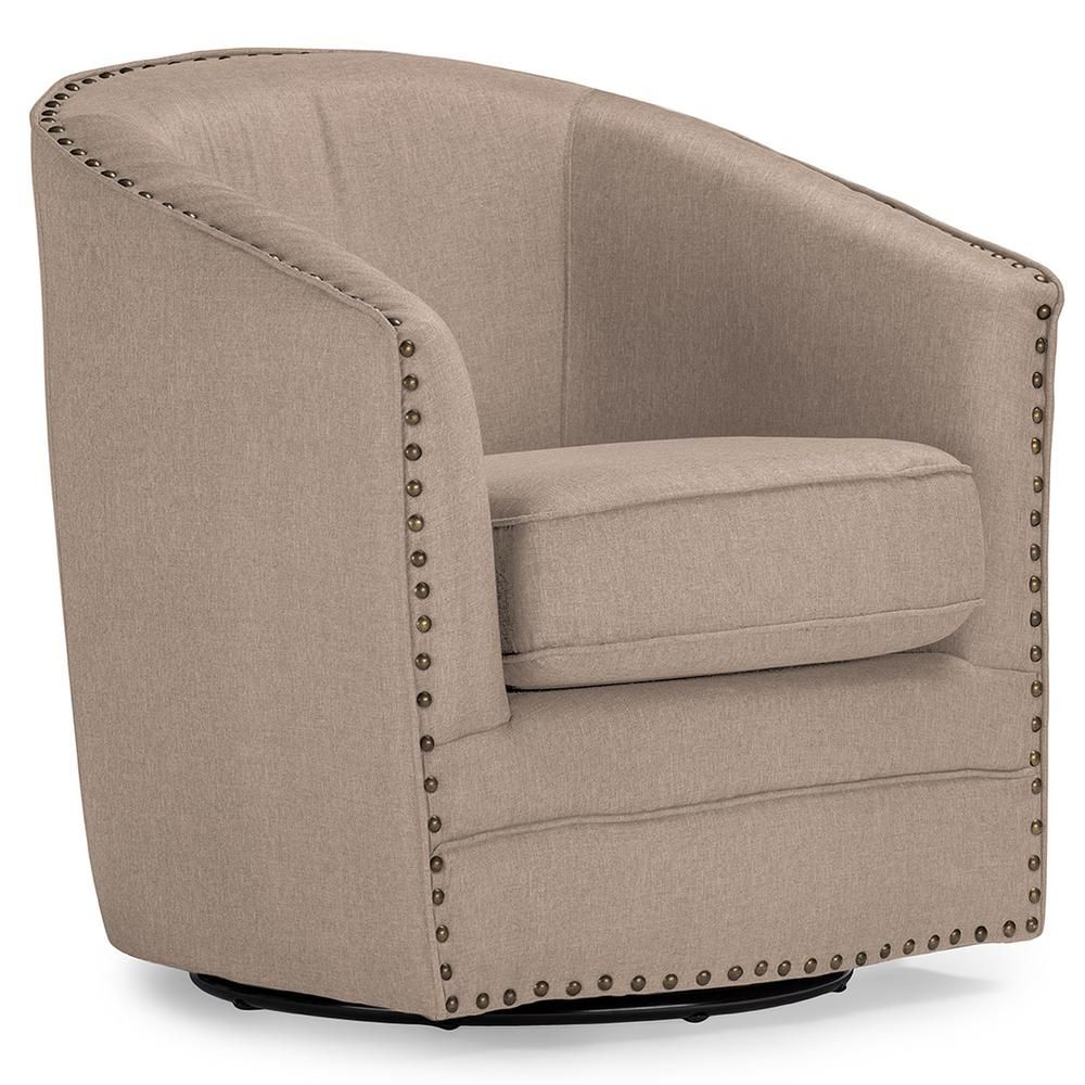 Baxton Studio Porter Contemporary Beige Fabric Upholstered Within Vineland Polyester Swivel Armchairs (View 6 of 15)