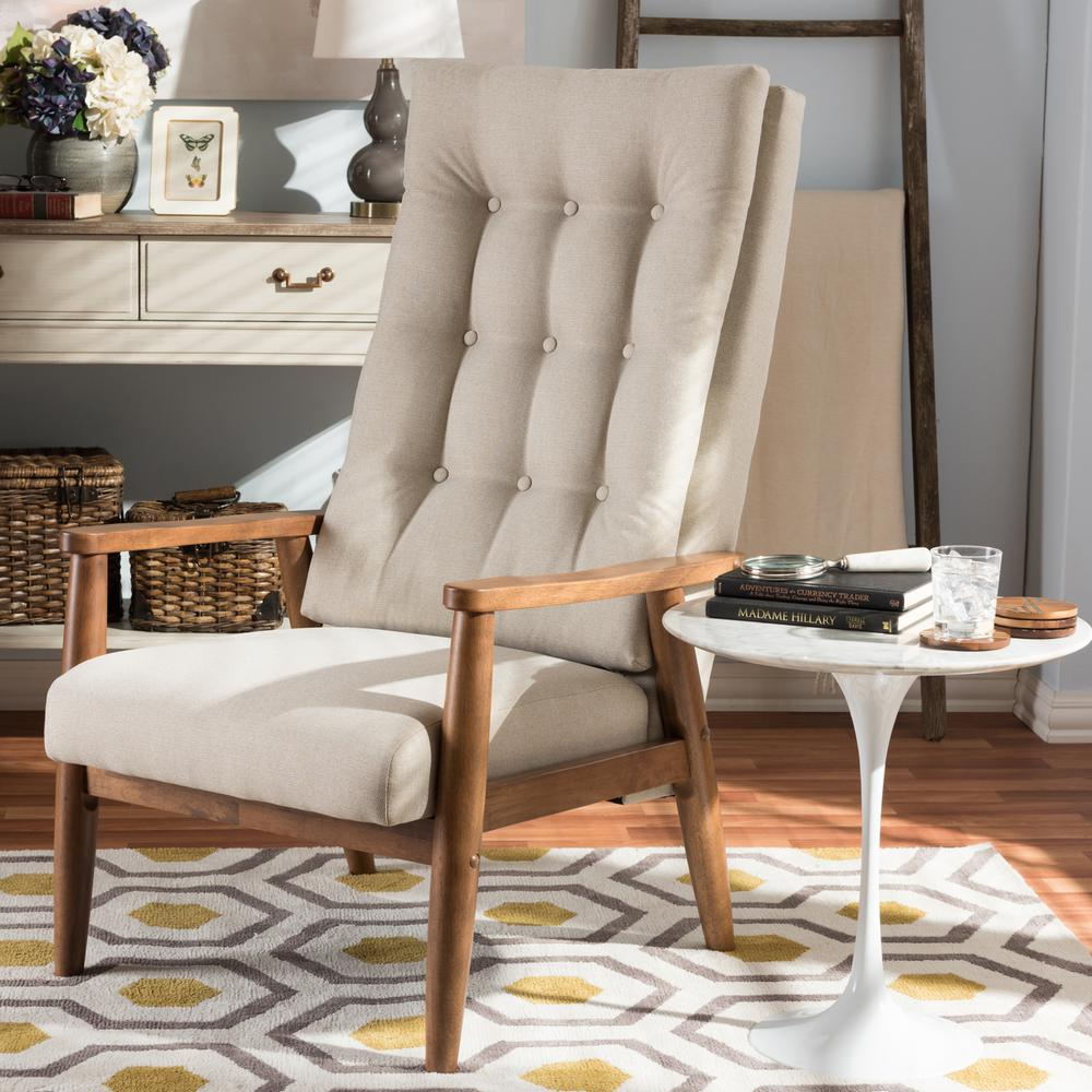 Baxton Studio Roxy Beige Fabric Upholstered Accent Chair 28862 7141 Hd – The Home Depot Intended For Aalivia Slipper Chairs (View 14 of 15)